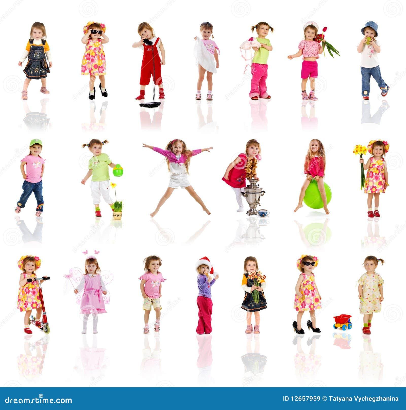 空白收集逗人喜爱的女孩小的照片