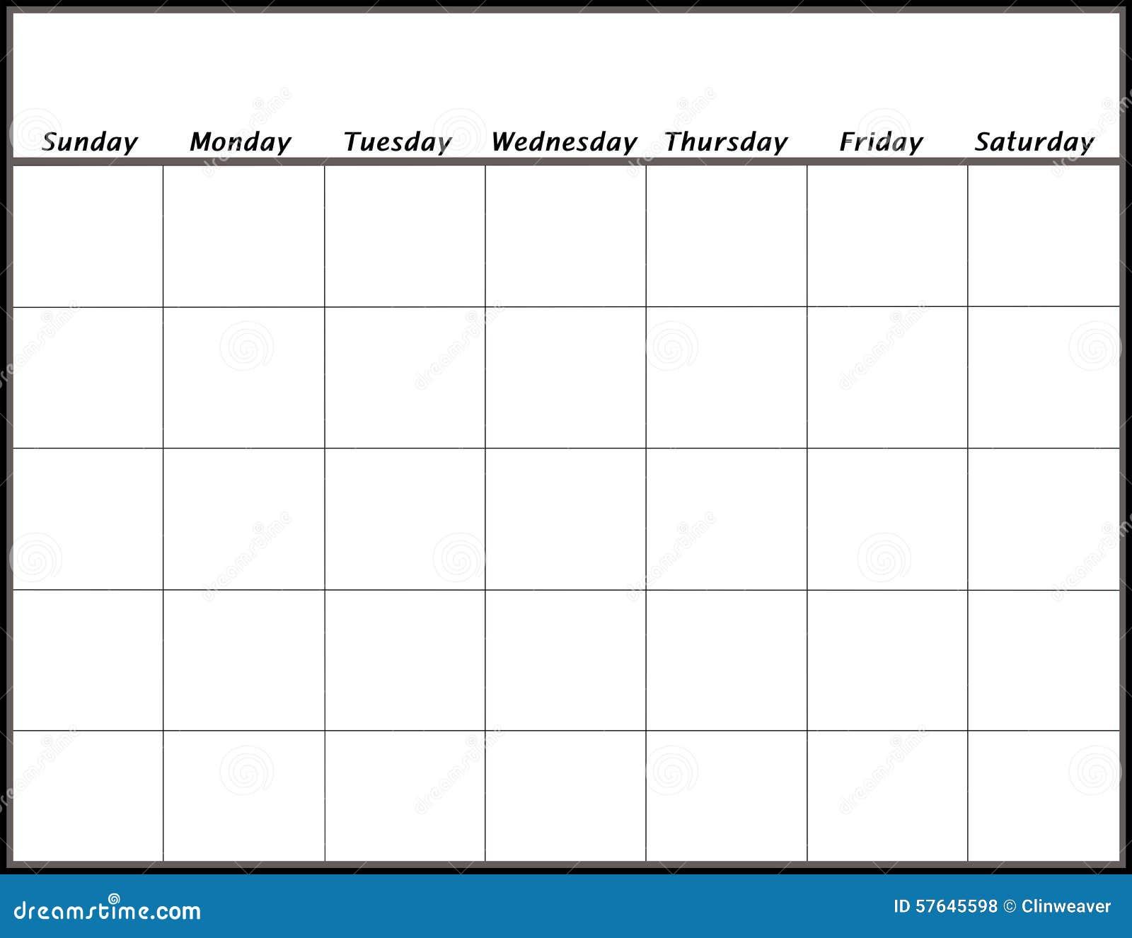 空白日历 库存例证. 插画 包括有 星期一, 办公室, 会议, 日历, 行业, 星期天, 星期二, 今天 ...