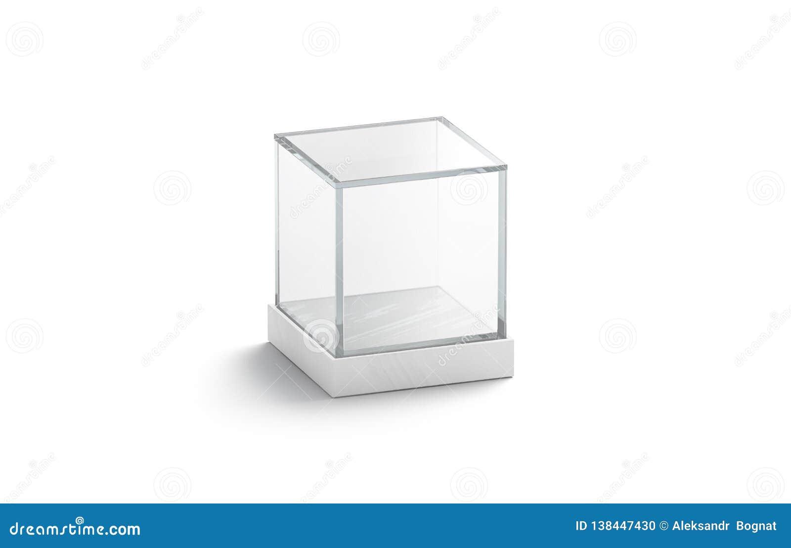 空白白色玻璃陈列室立方体嘲笑,隔绝