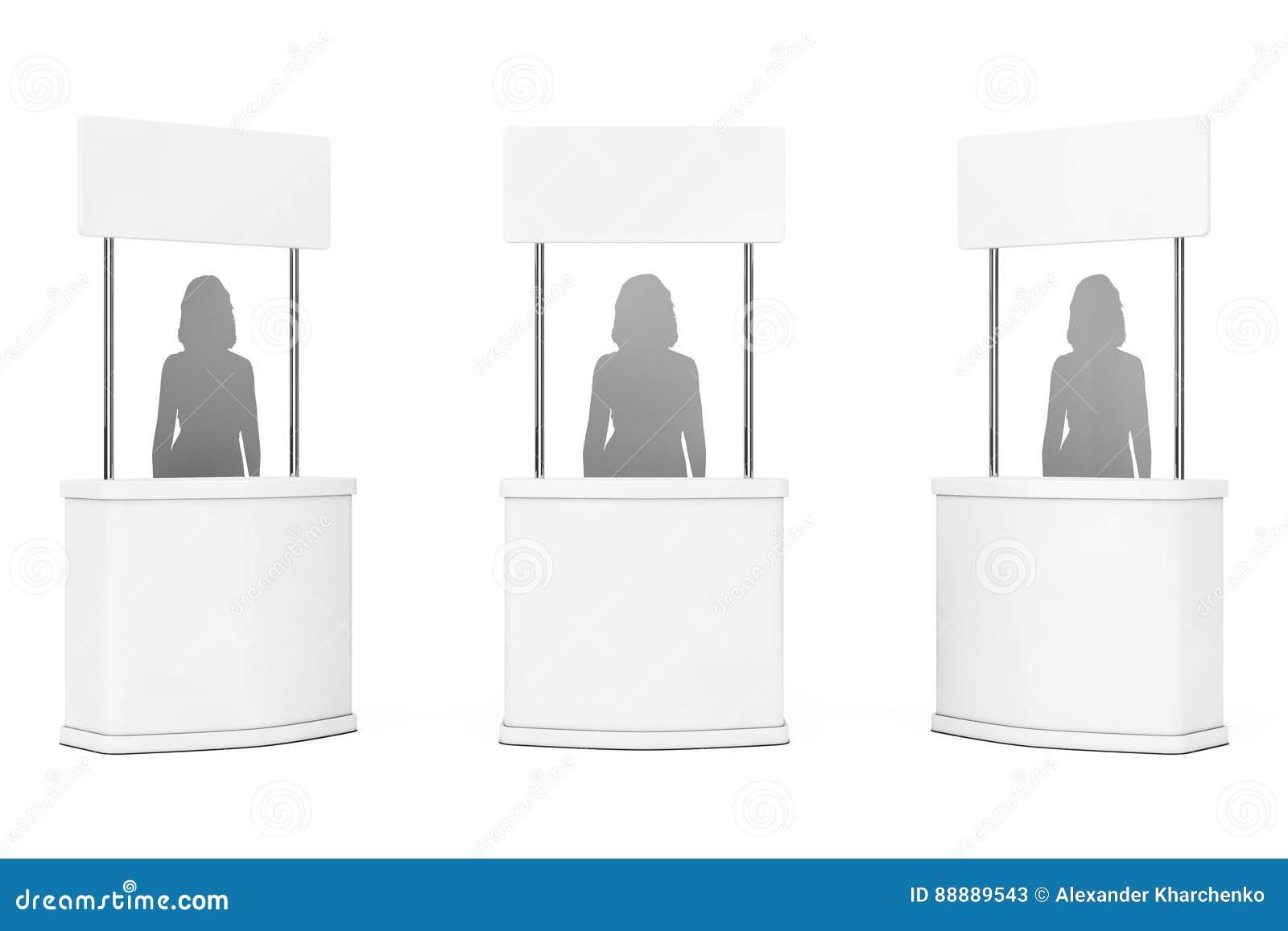 空白的促进站立与妇女剪影 3d翻译
