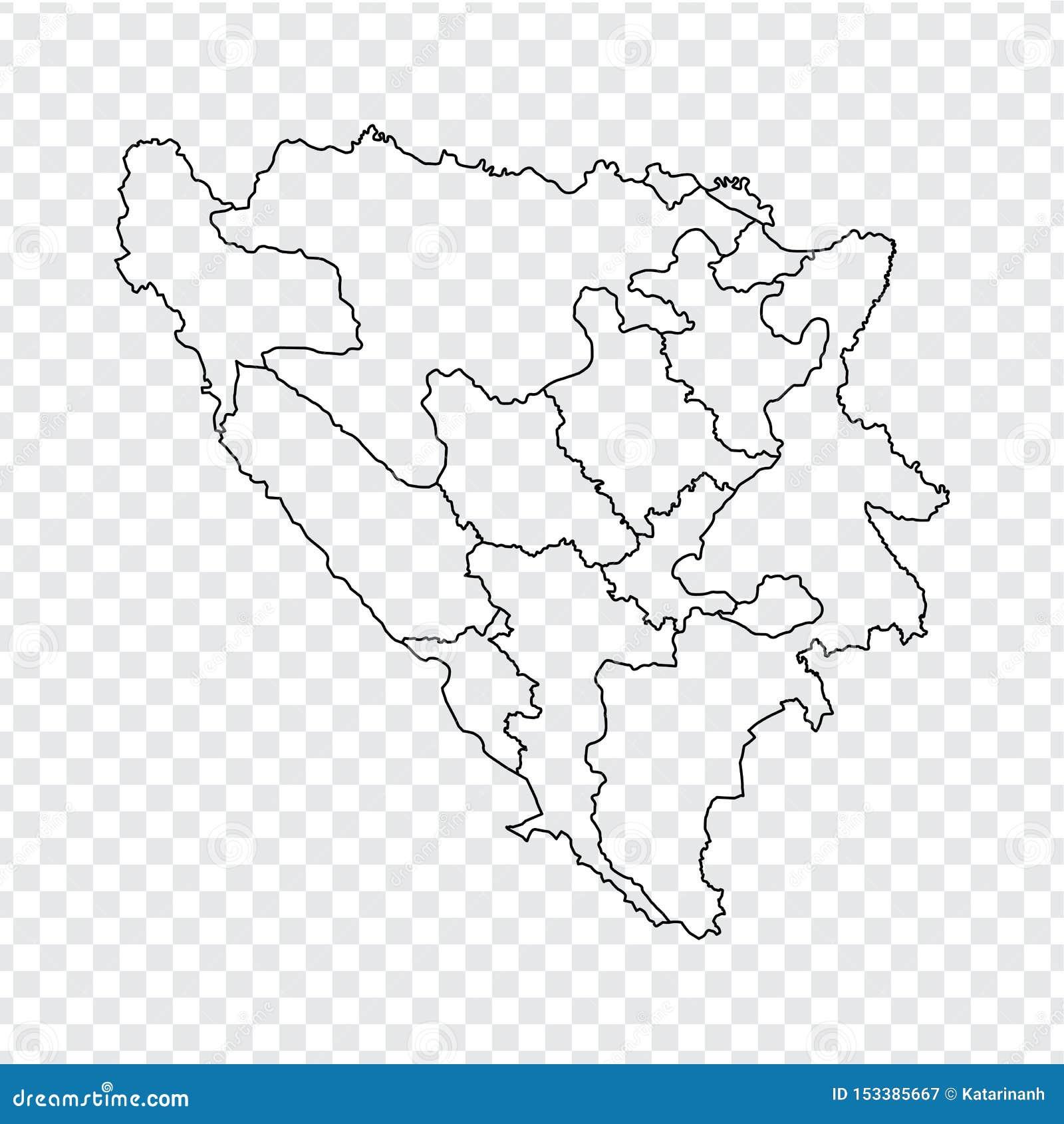 空白的地图波黑 波黑的优质地图有省的在您的透明背景我们