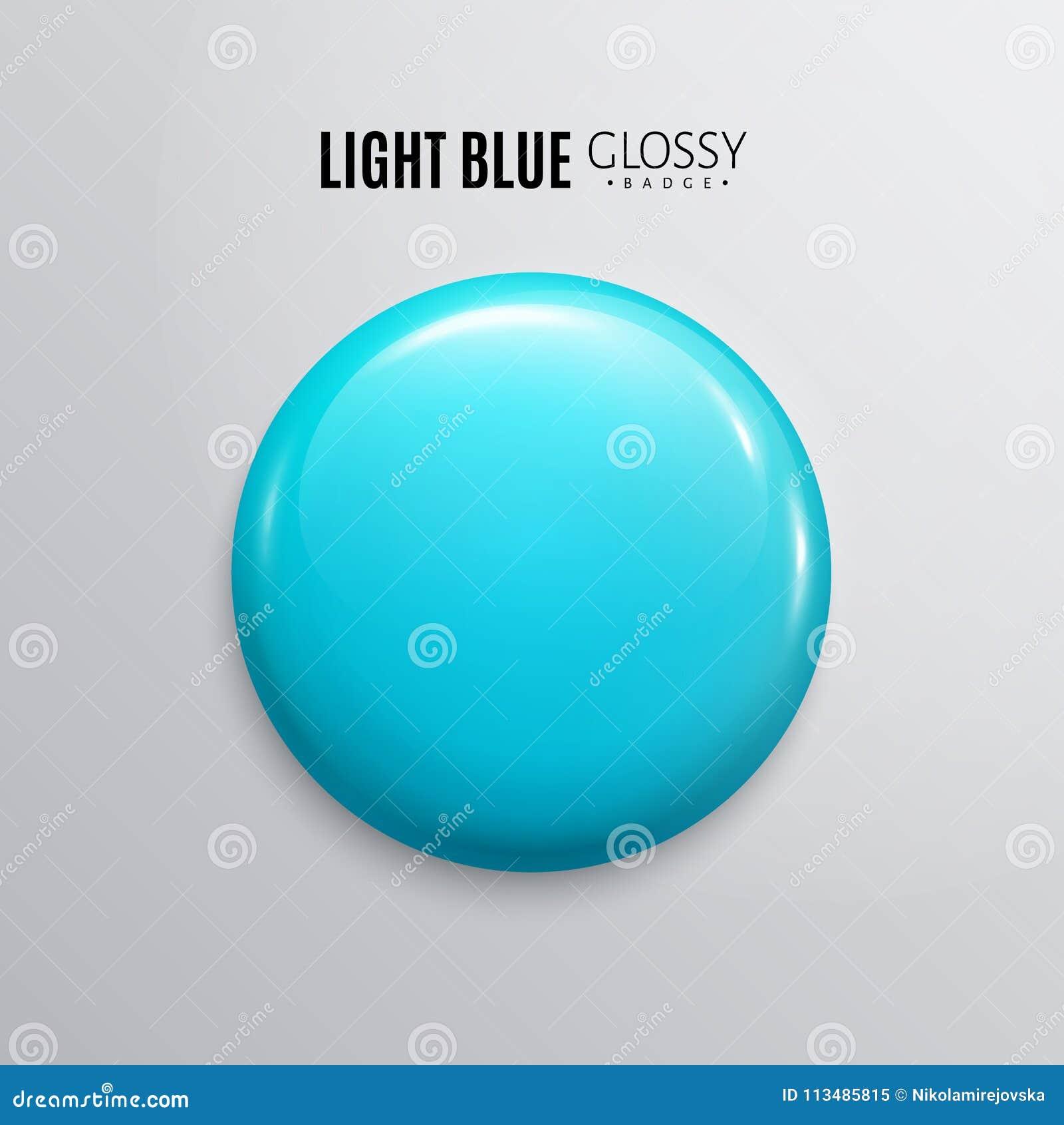 空白的浅兰的光滑的徽章或按钮 3d回报 圆的塑料别针,象征,志愿标签 向量
