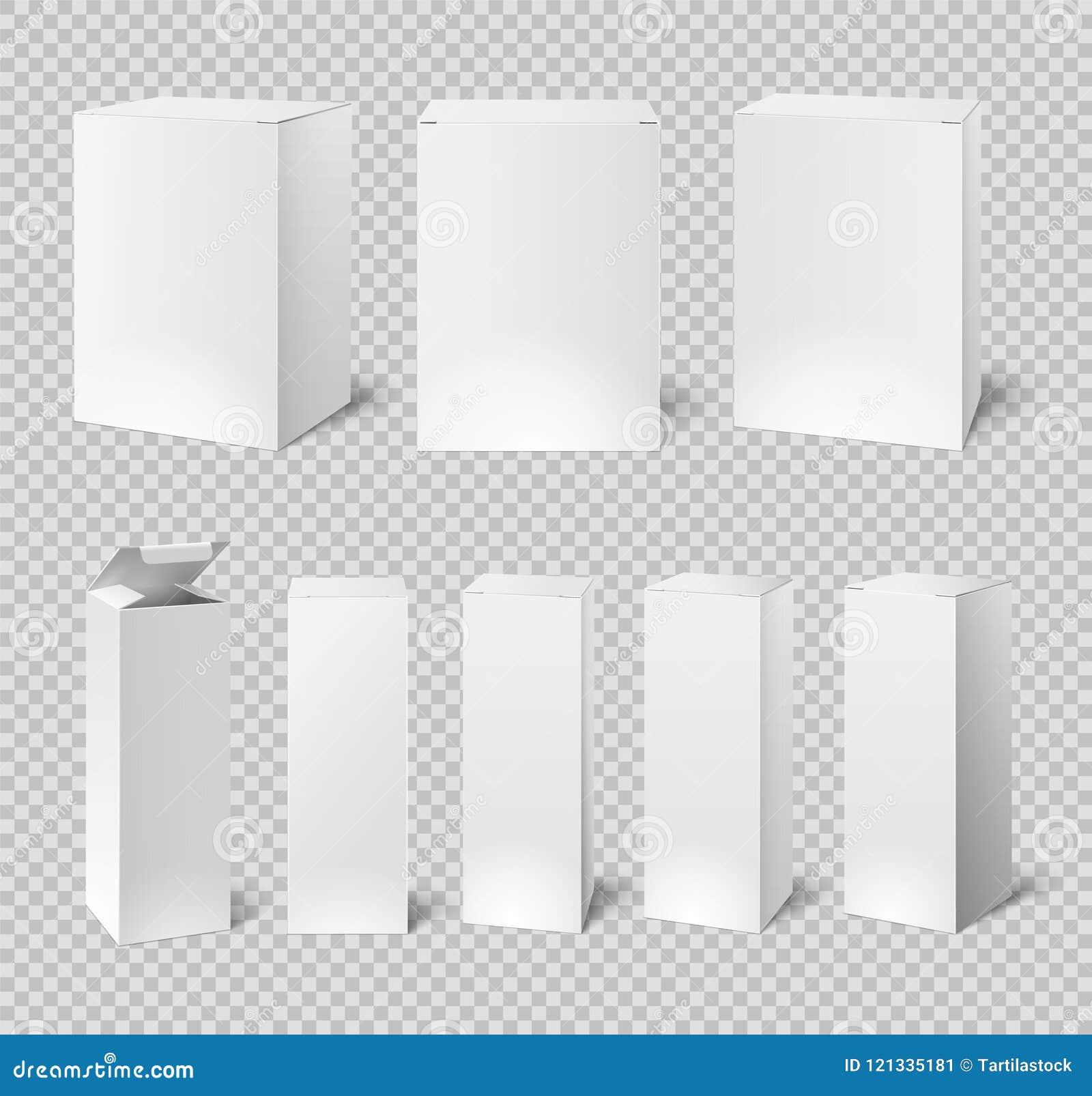 空白的白色箱子 长方形医学和化妆用品产品包装 3d传染媒介被隔绝的箱子大模型