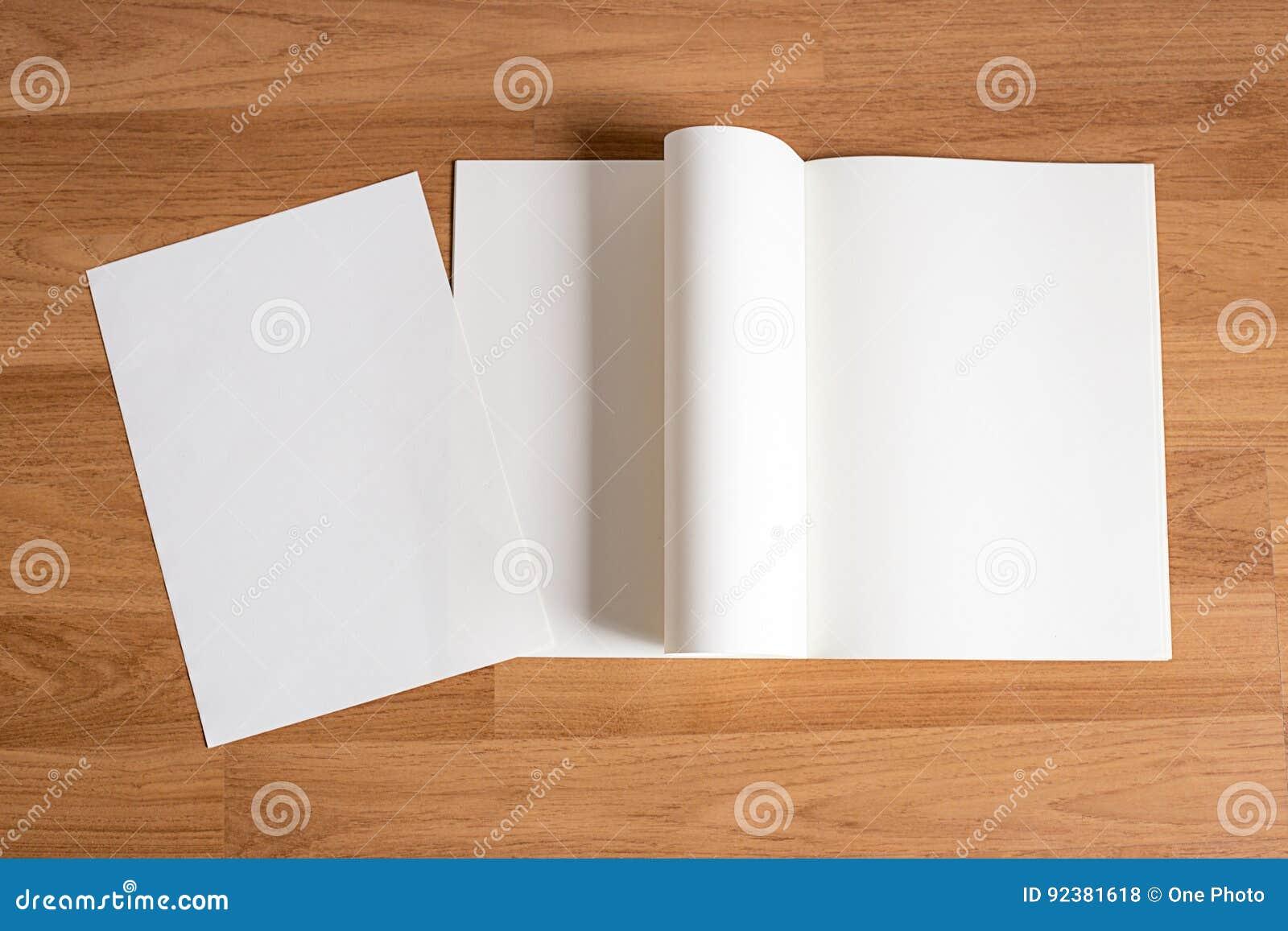 空白的编目和书,杂志,书嘲笑在木backgrou