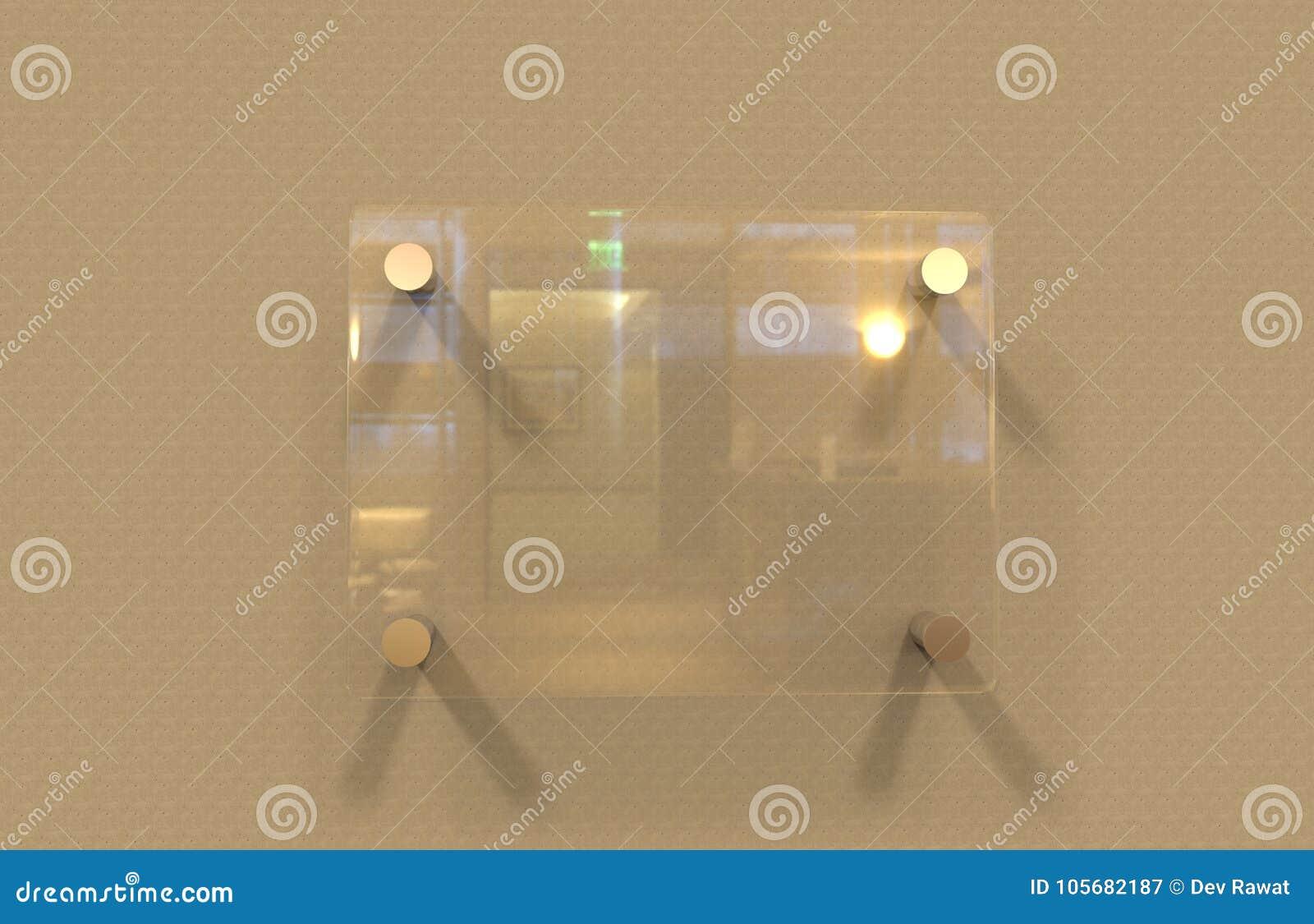 空白的透明玻璃内部模板, 3D的办公室公司标志板材嘲笑例证
