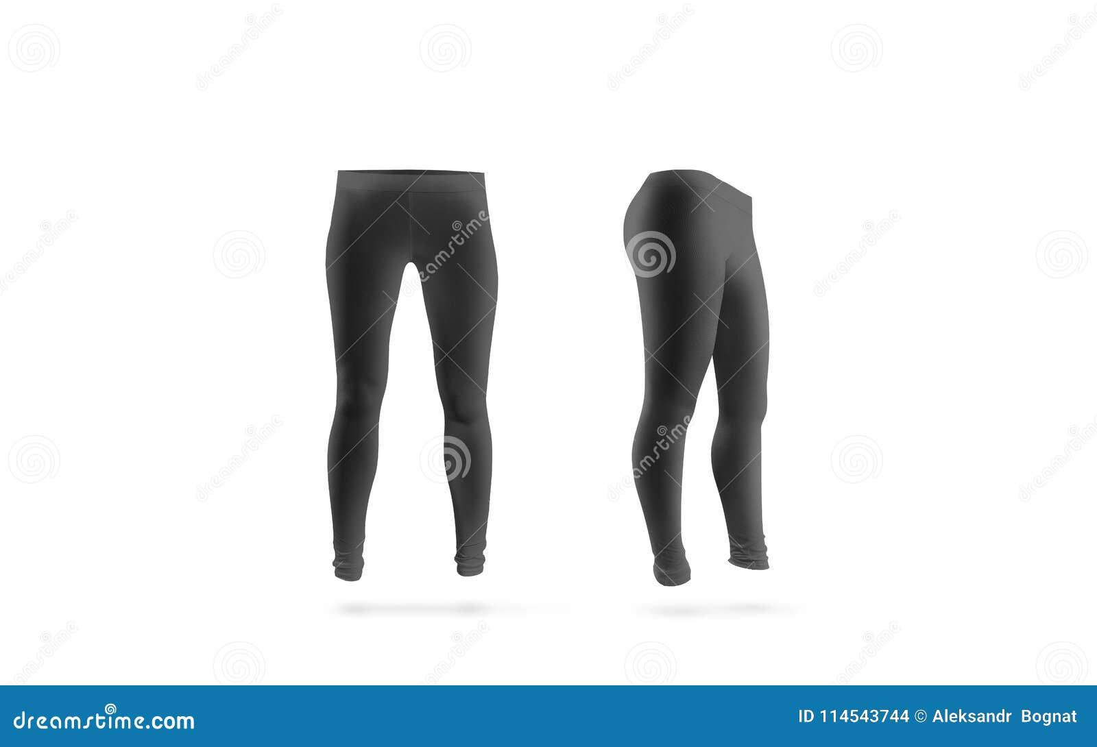空白的黑绑腿大模型,前面和侧视图,被隔绝
