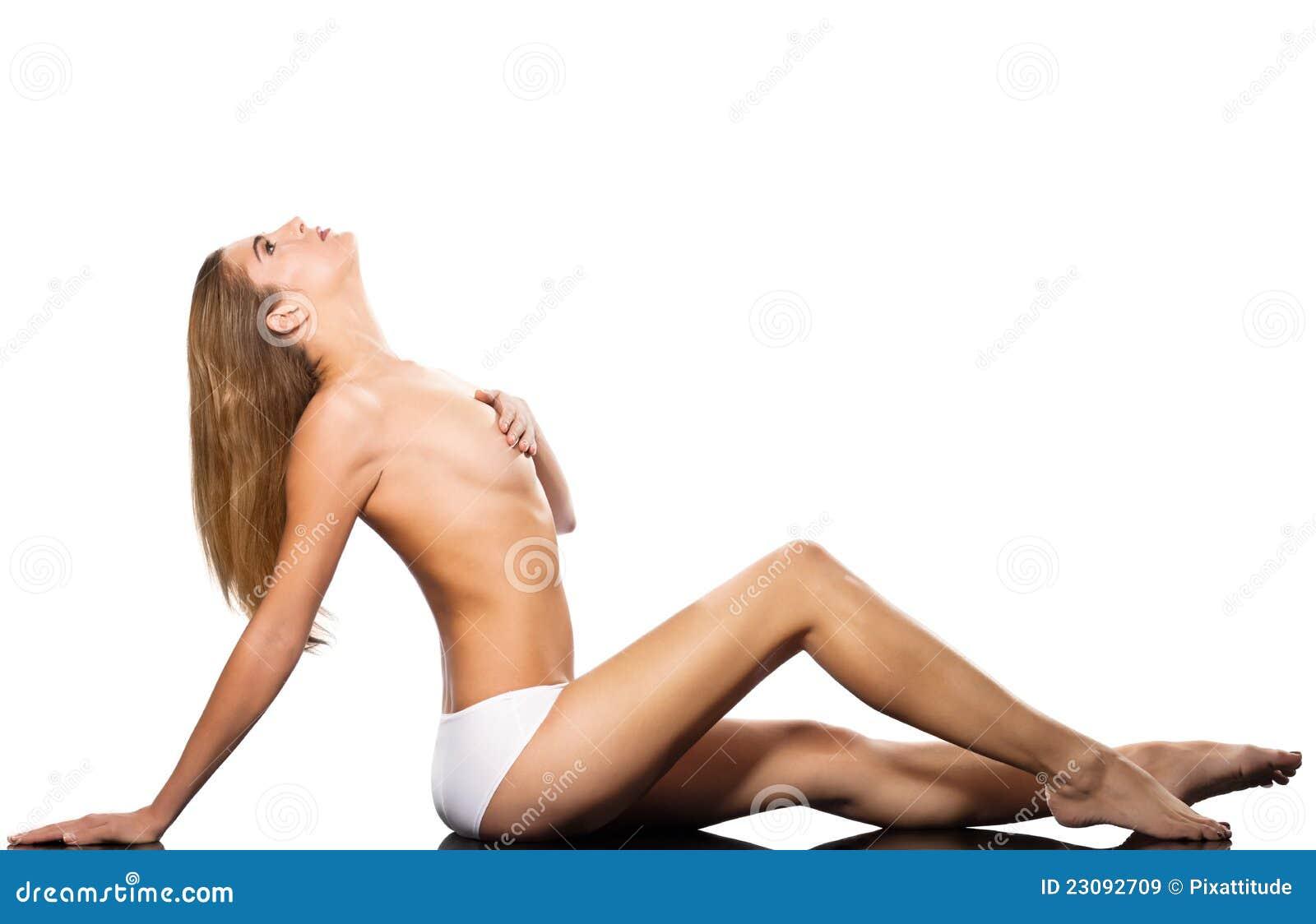 空白背景的查出的性感的露胸部的妇女
