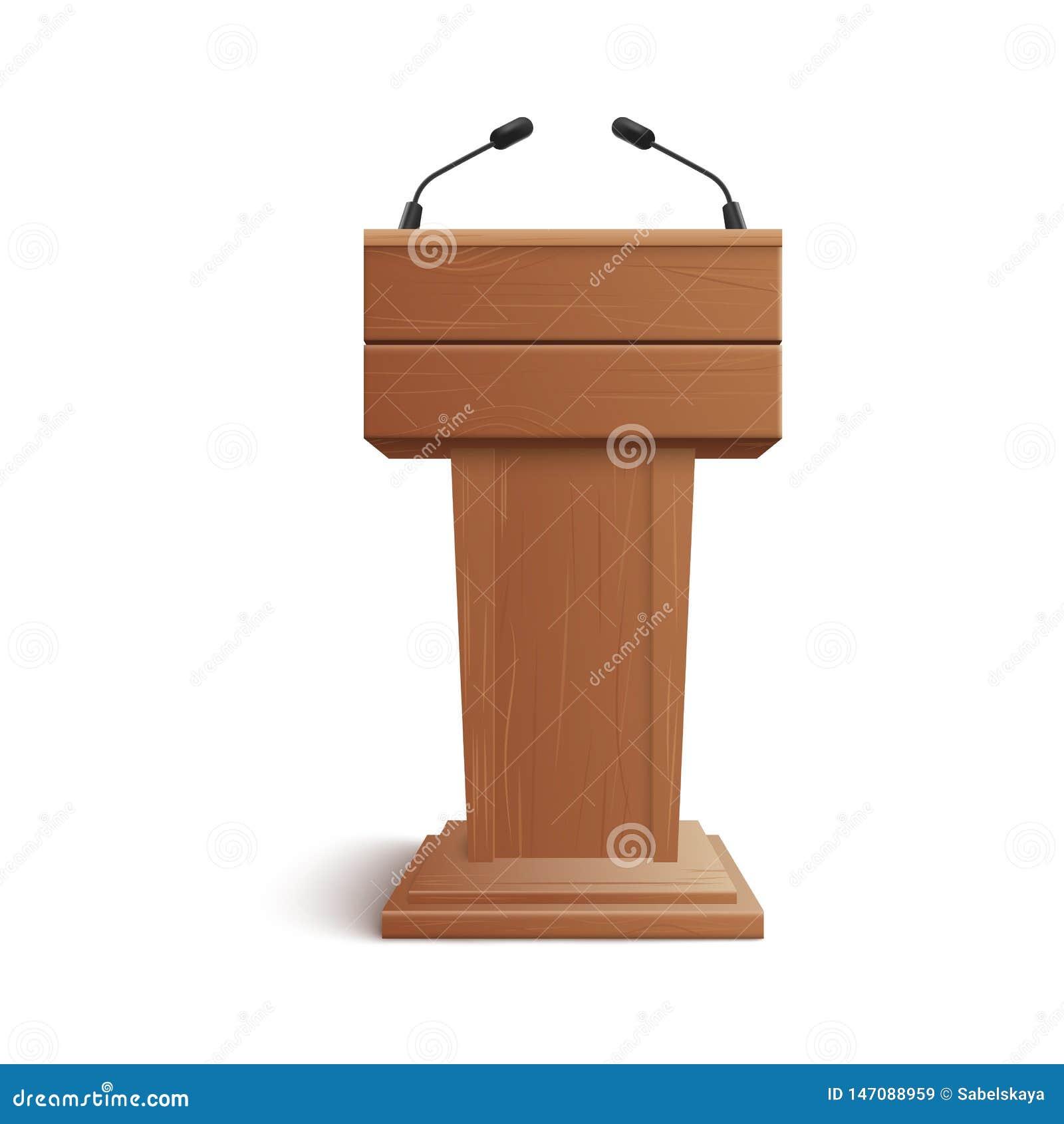 空白褐色木立场、指挥台或者讲台现实象与话筒