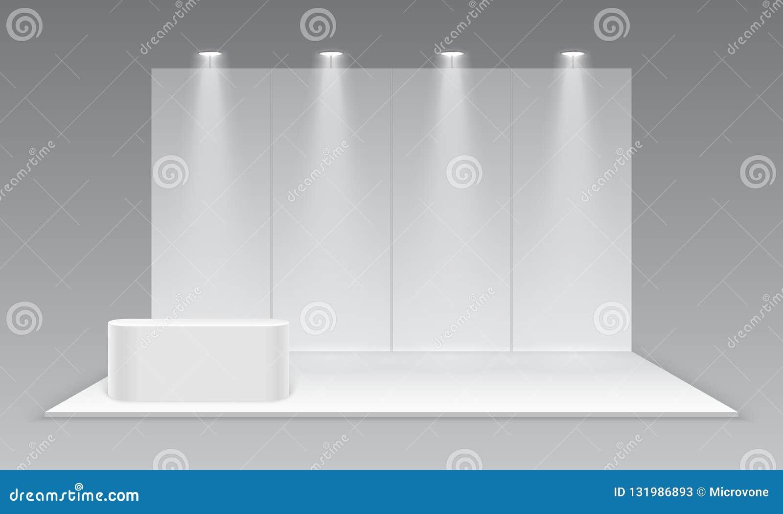 空白陈列商业展览摊 与书桌的白色空的增进广告的立场 介绍事件室显示