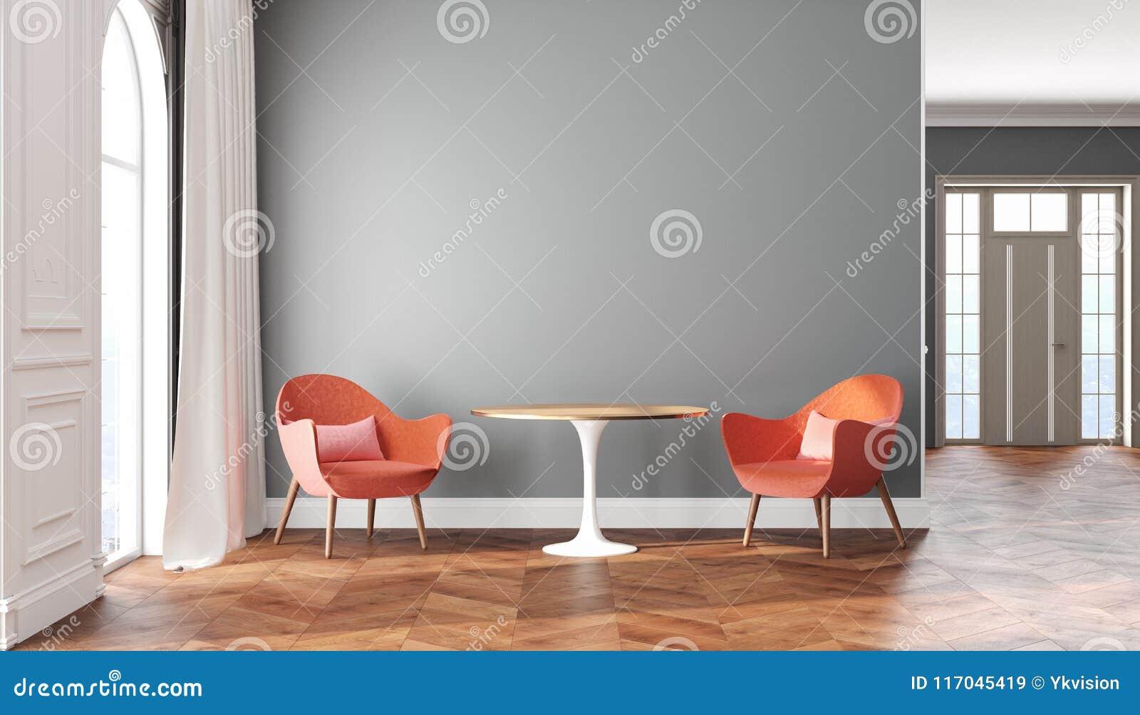空的与灰色墙壁、红色、桃红色扶手椅子、桌、帷幕和窗口的室斯堪的纳维亚内部