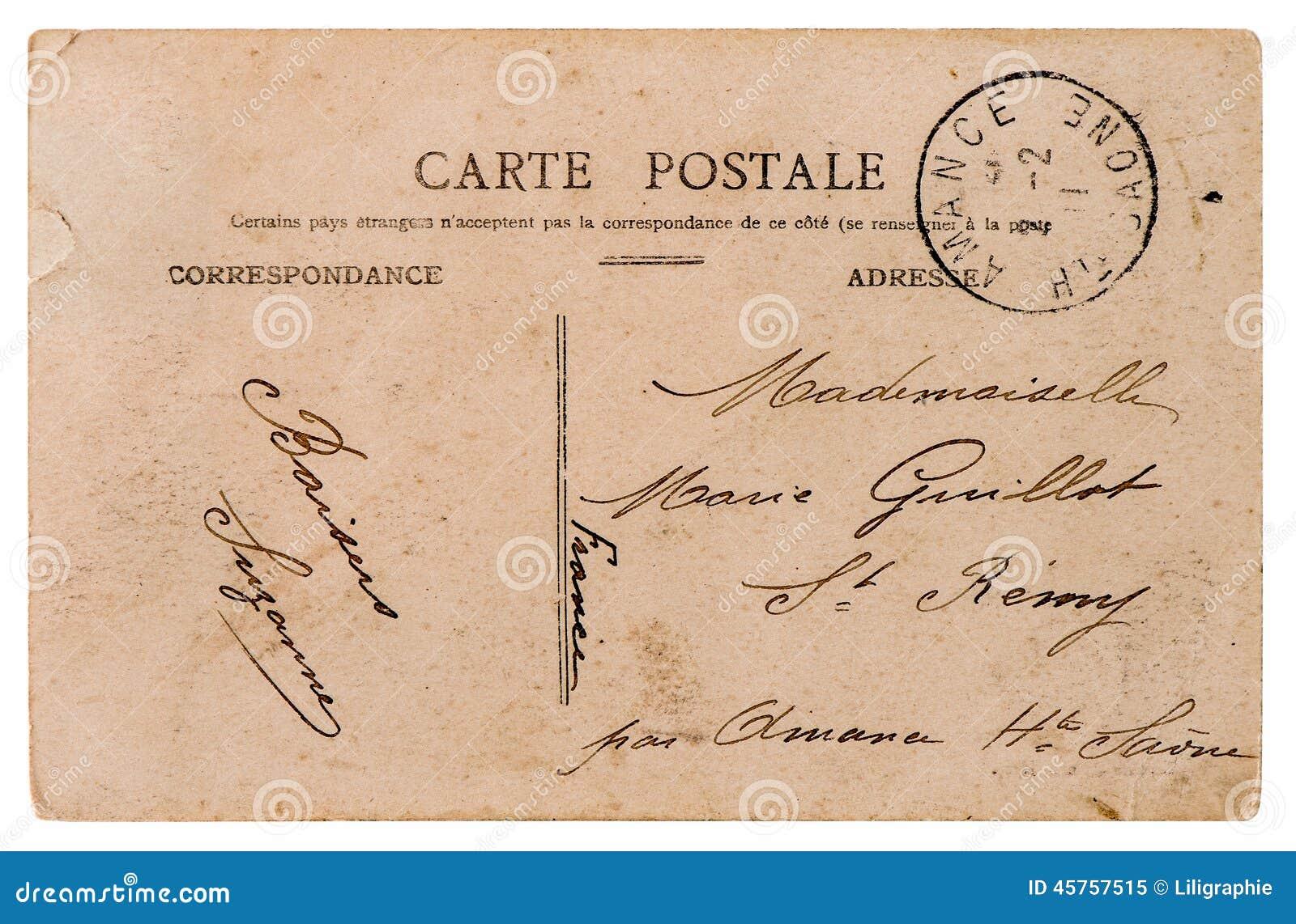 空的古色古香的法国明信片 背景资料减速火箭的样式