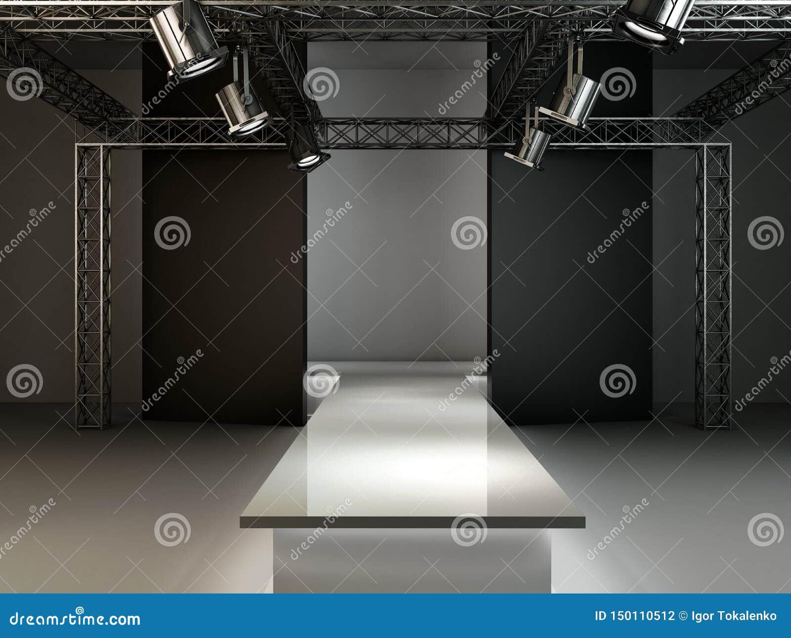 空的时尚跑道指挥台阶段内部现实背景3d回报例证