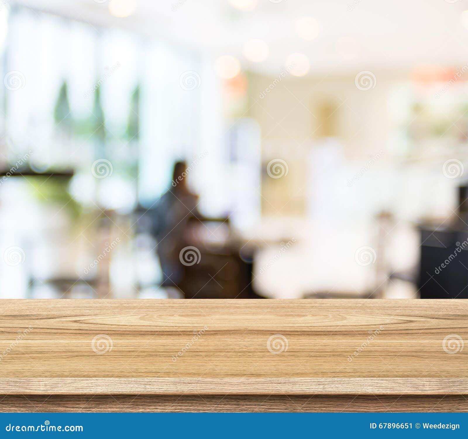 空的木桌和被弄脏的咖啡馆光背景 产品disp