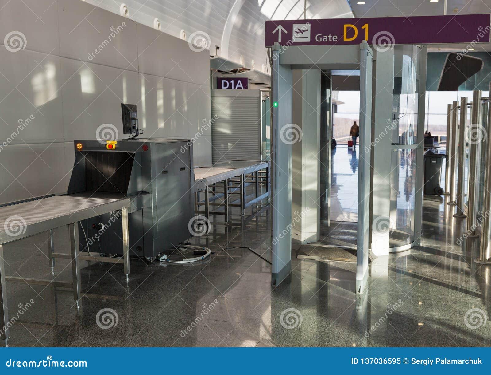 空的机场安检检验站