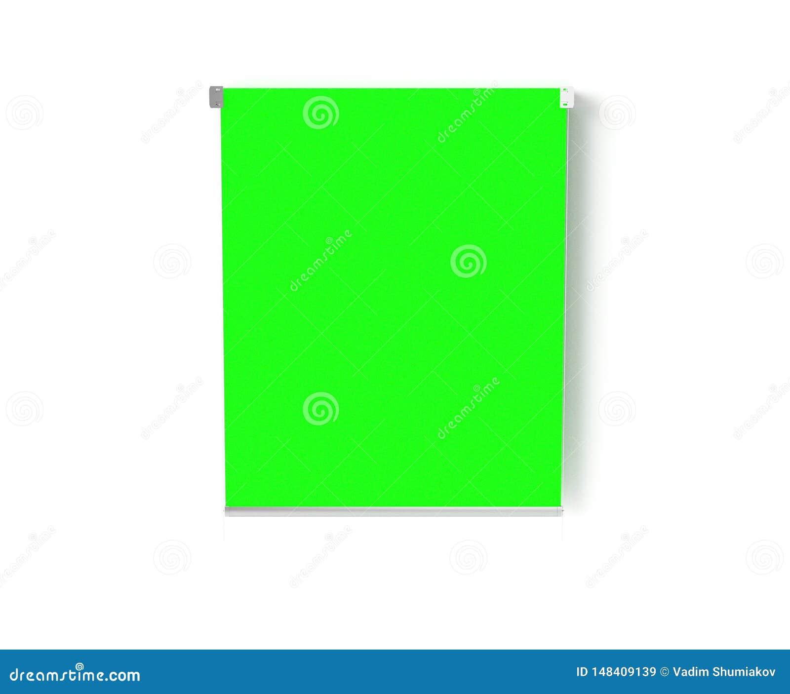 空的照相馆Hromakey 3d回报 现代照相馆 绿色背景立场三脚架 ??