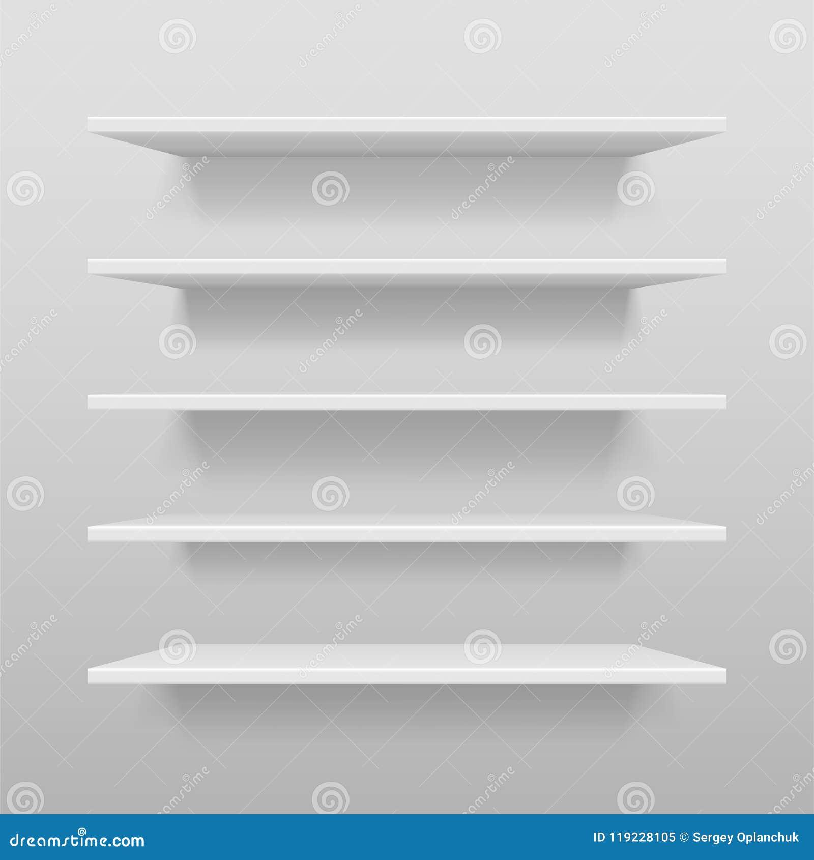 空的白色商店或陈列架子,零售白色搁置大模型 有阴影的现实传染媒介书架在墙壁, 3d上
