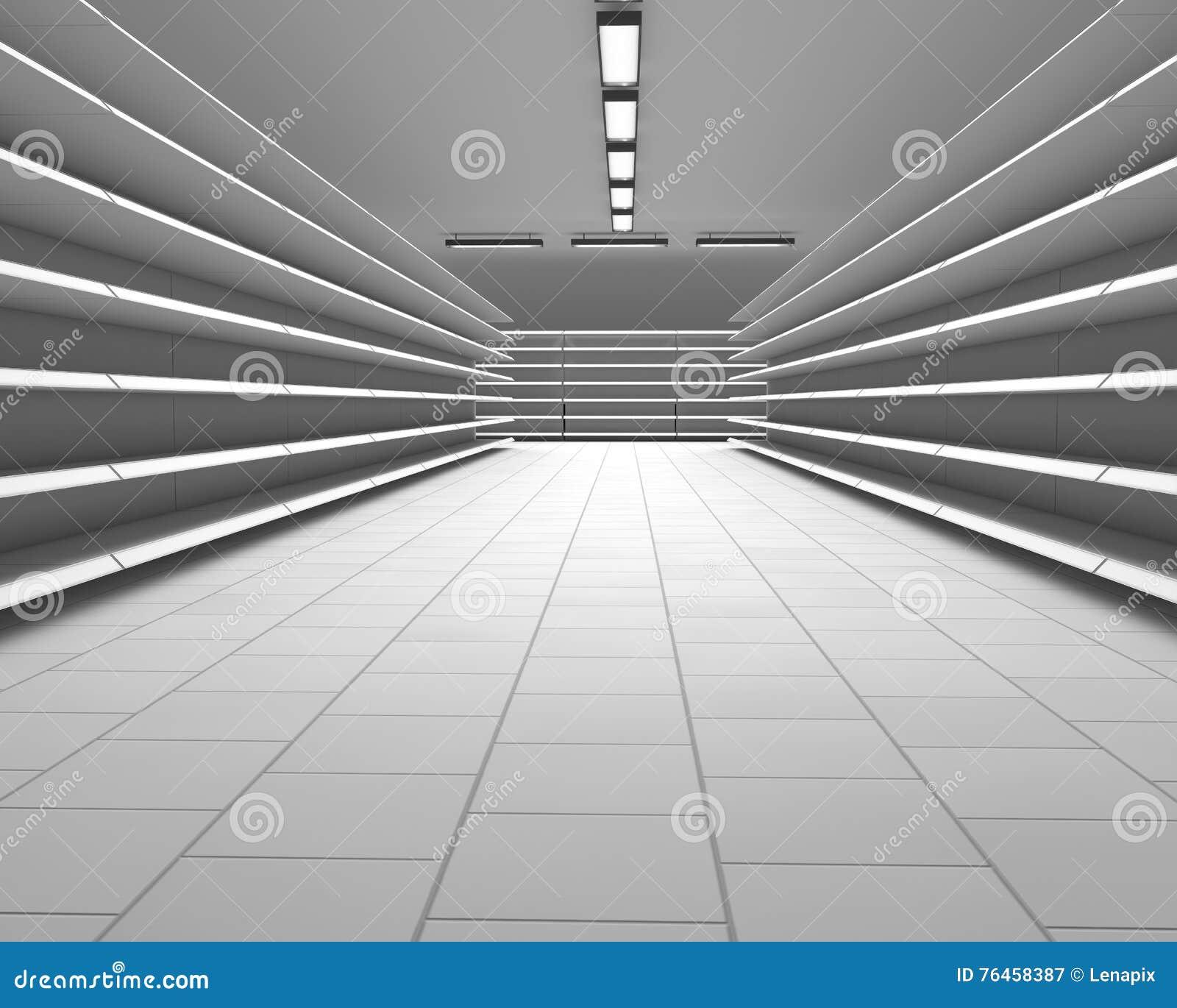 空的白色超级市场架子行