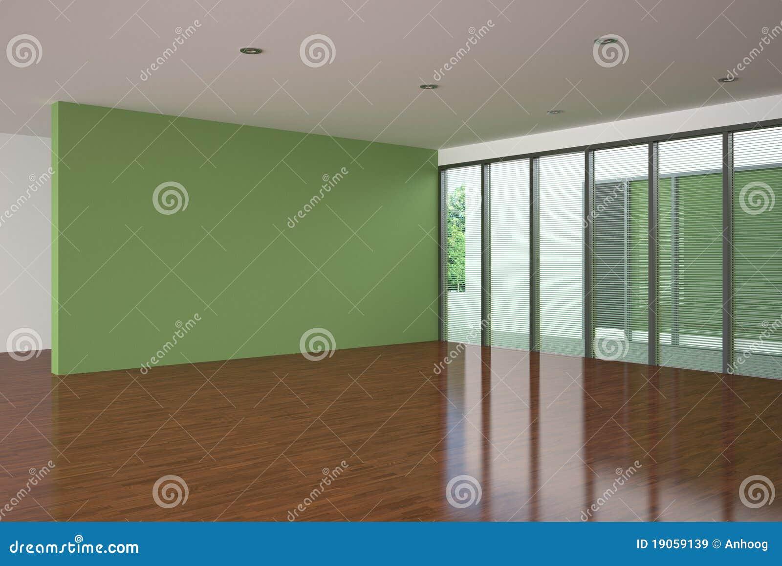 空的绿色居住的现代空间墙壁