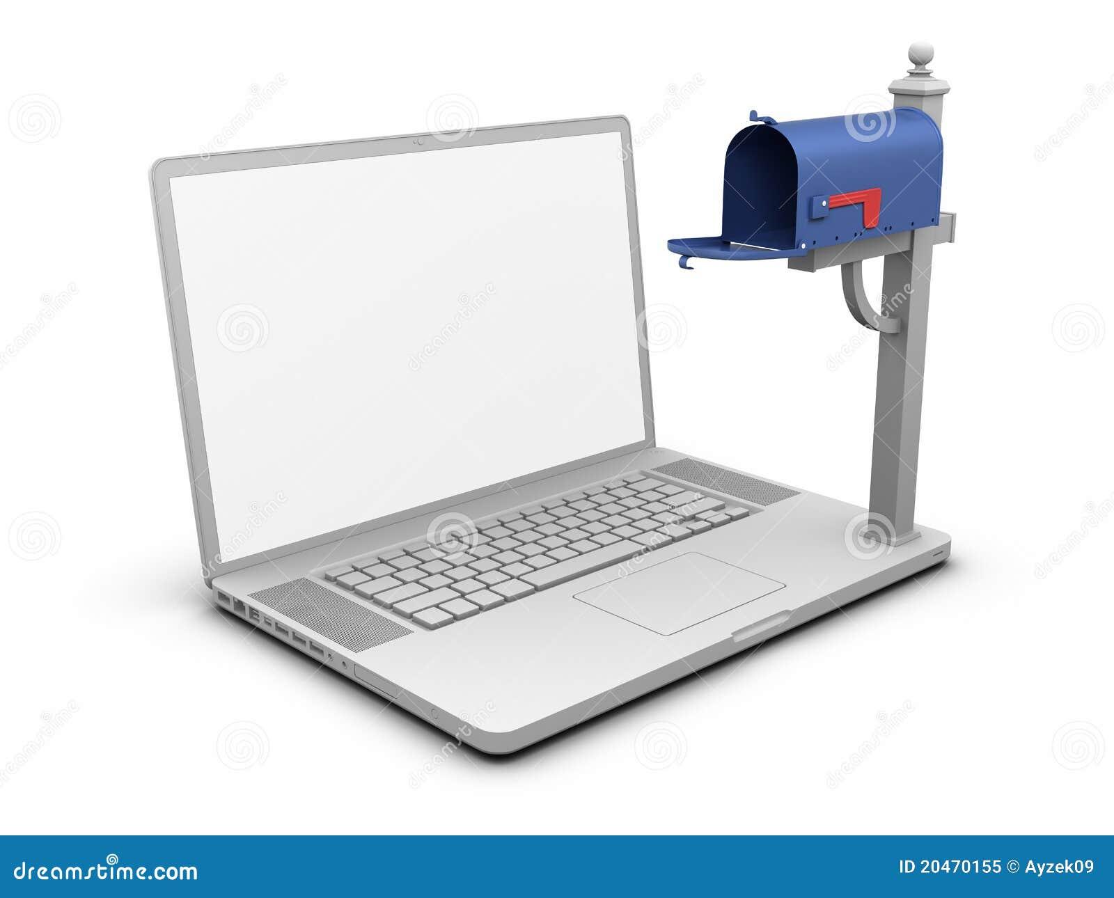 空的膝上型计算机邮箱