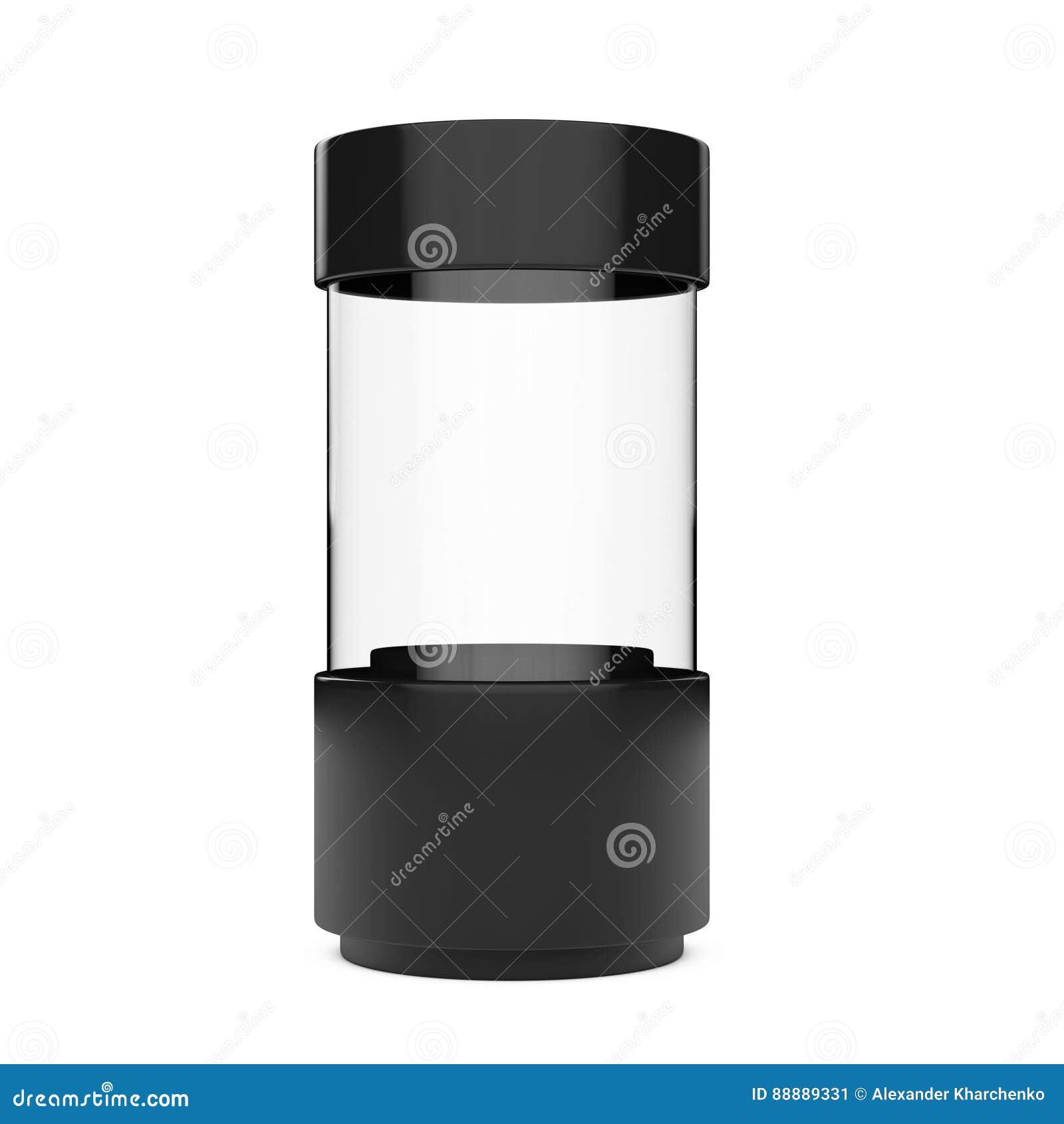 黑空的玻璃商店陈列室圆筒 3d翻译