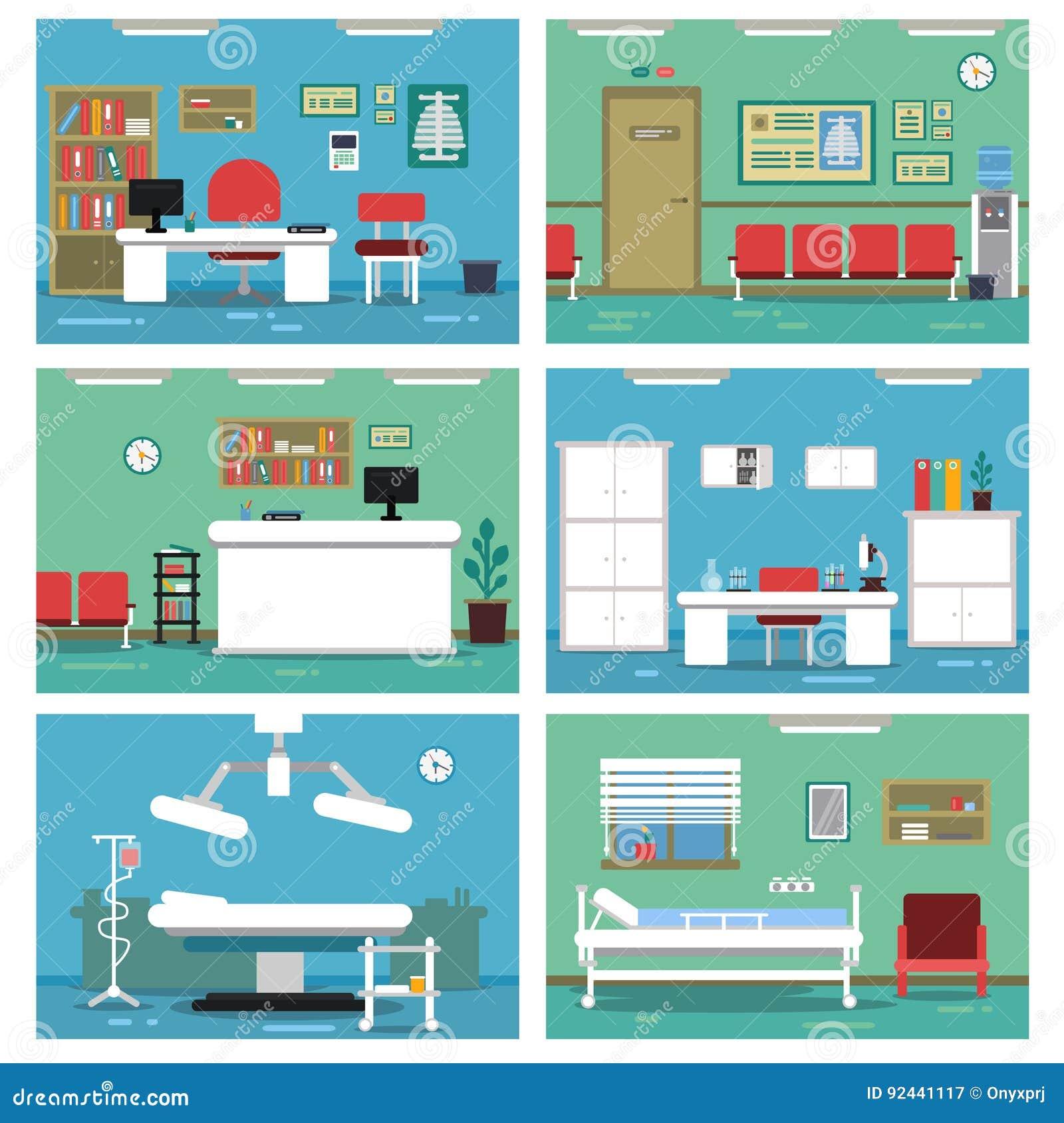 空的医疗办公室的例证 不同的房间在医院 被设置的传染媒介图片