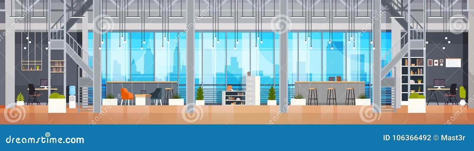 空的Coworking办公室内部现代Coworking中心创造性的工作场所环境水平的横幅