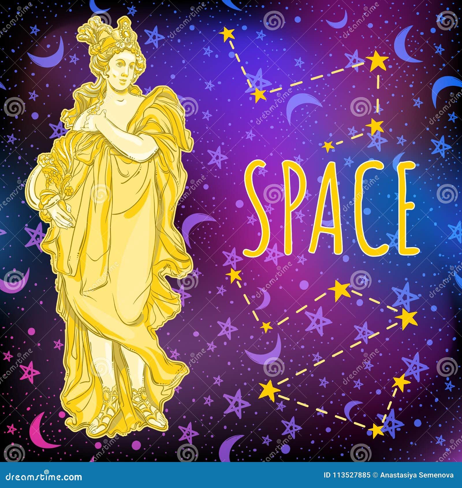 空间背景的美丽的希腊女神 古希腊的神话女英雄 外层空间传染媒介例证