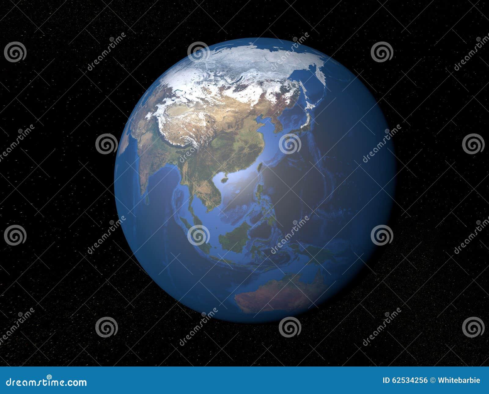 从空间亚洲的地球没有云彩