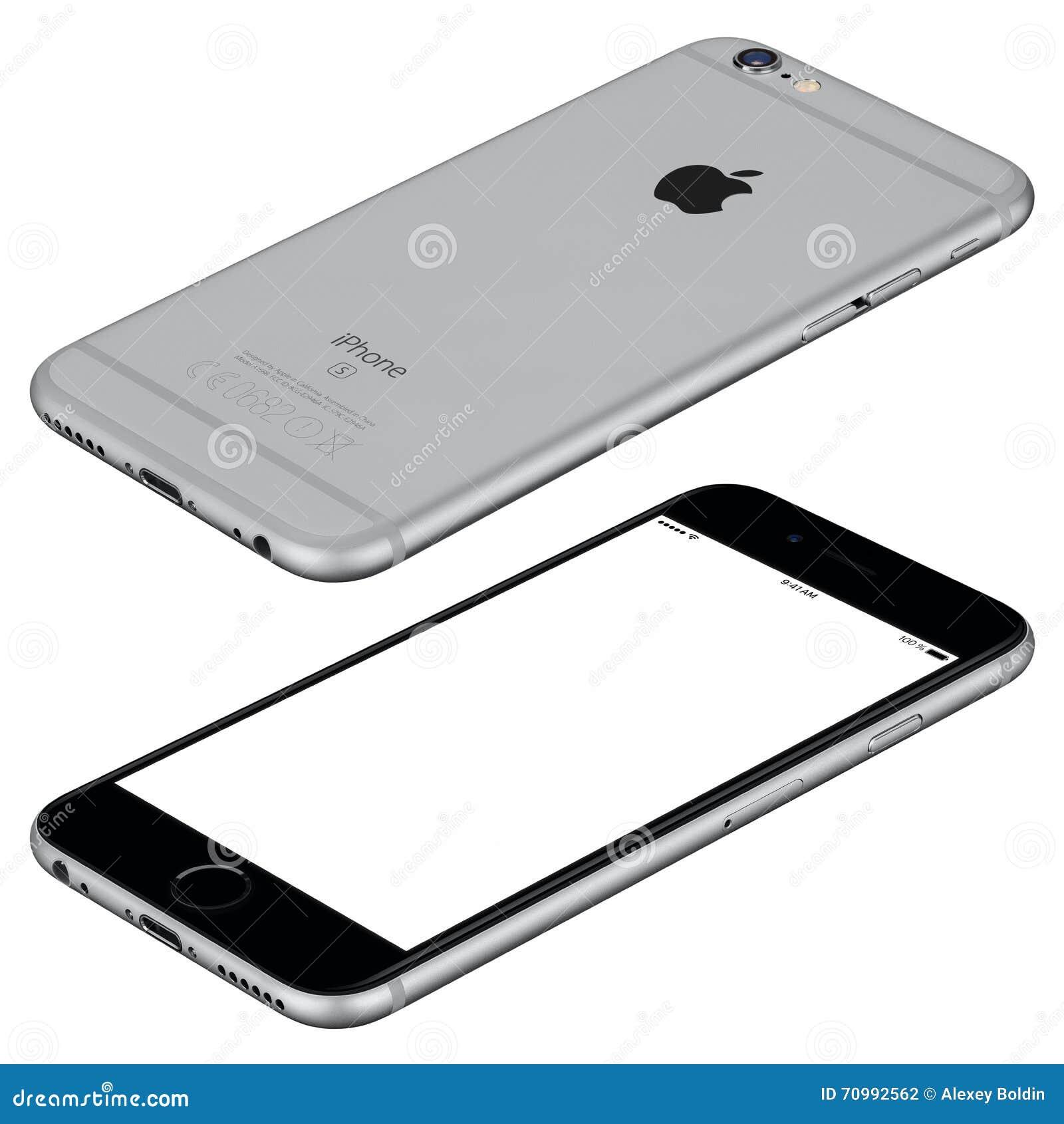 空间灰色苹果计算机iPhone 6s大模型说谎表面上顺时针