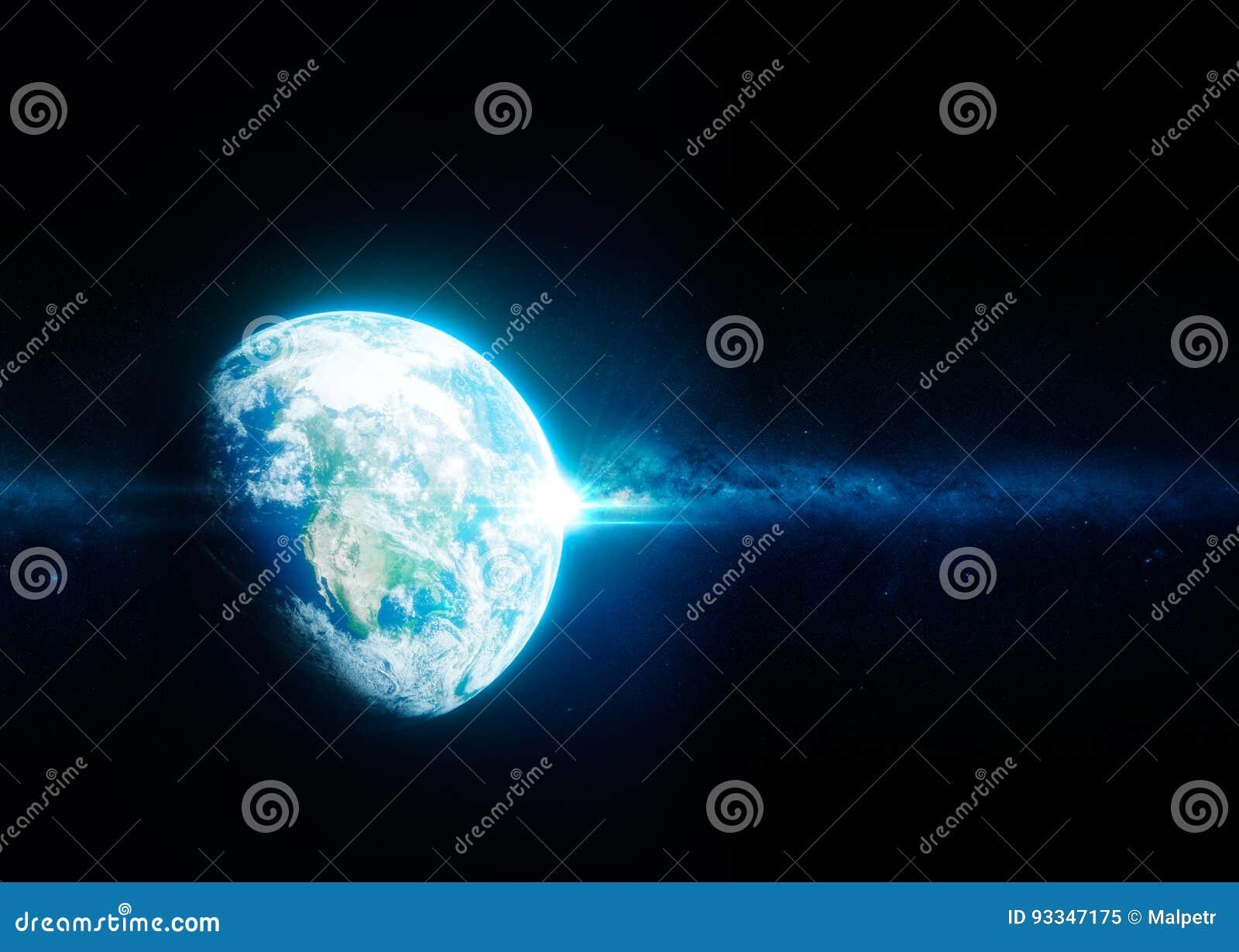 从空间的地球与银河星系在背景中