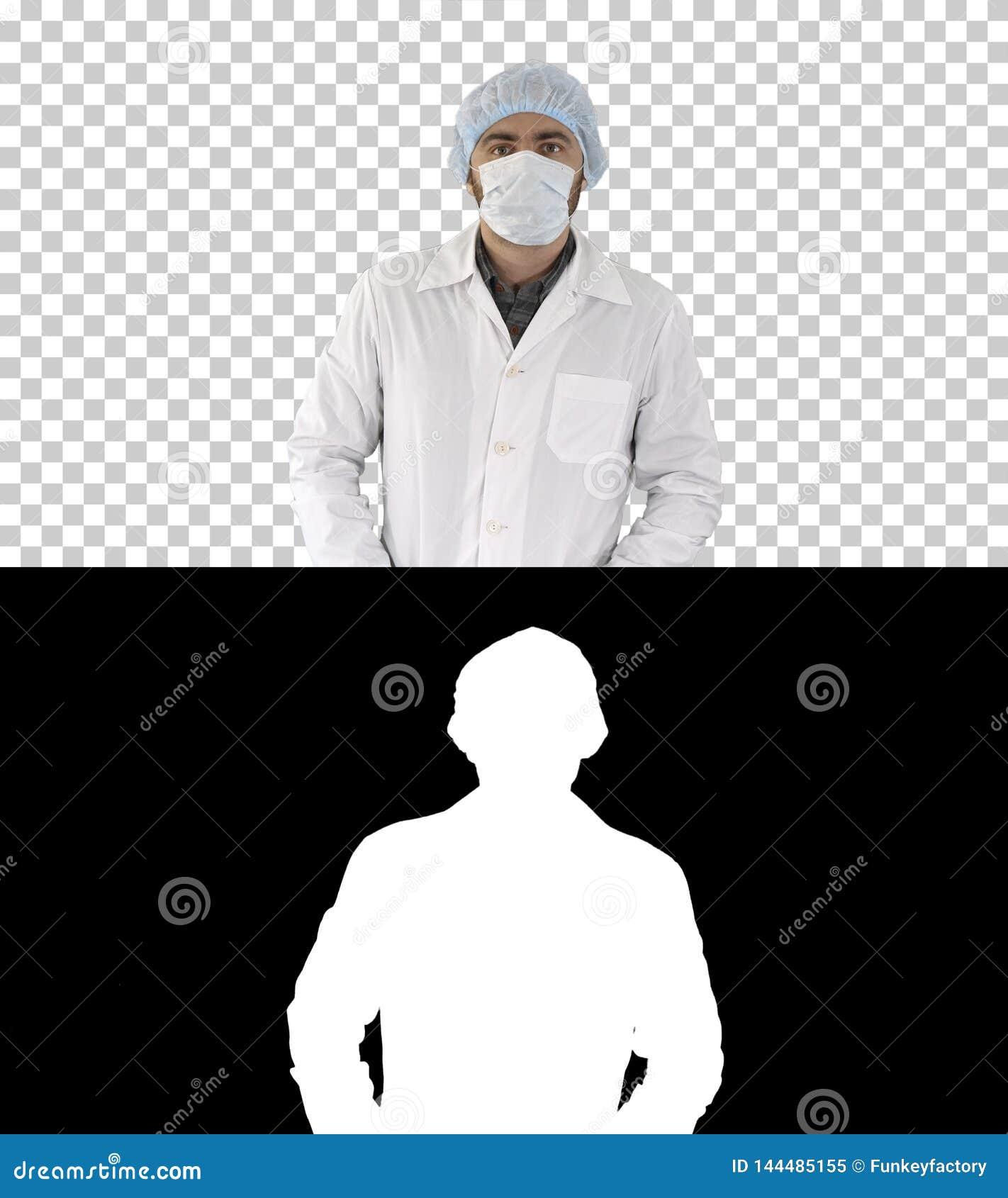 穿上面具和帽子的医生画象,阿尔法通道