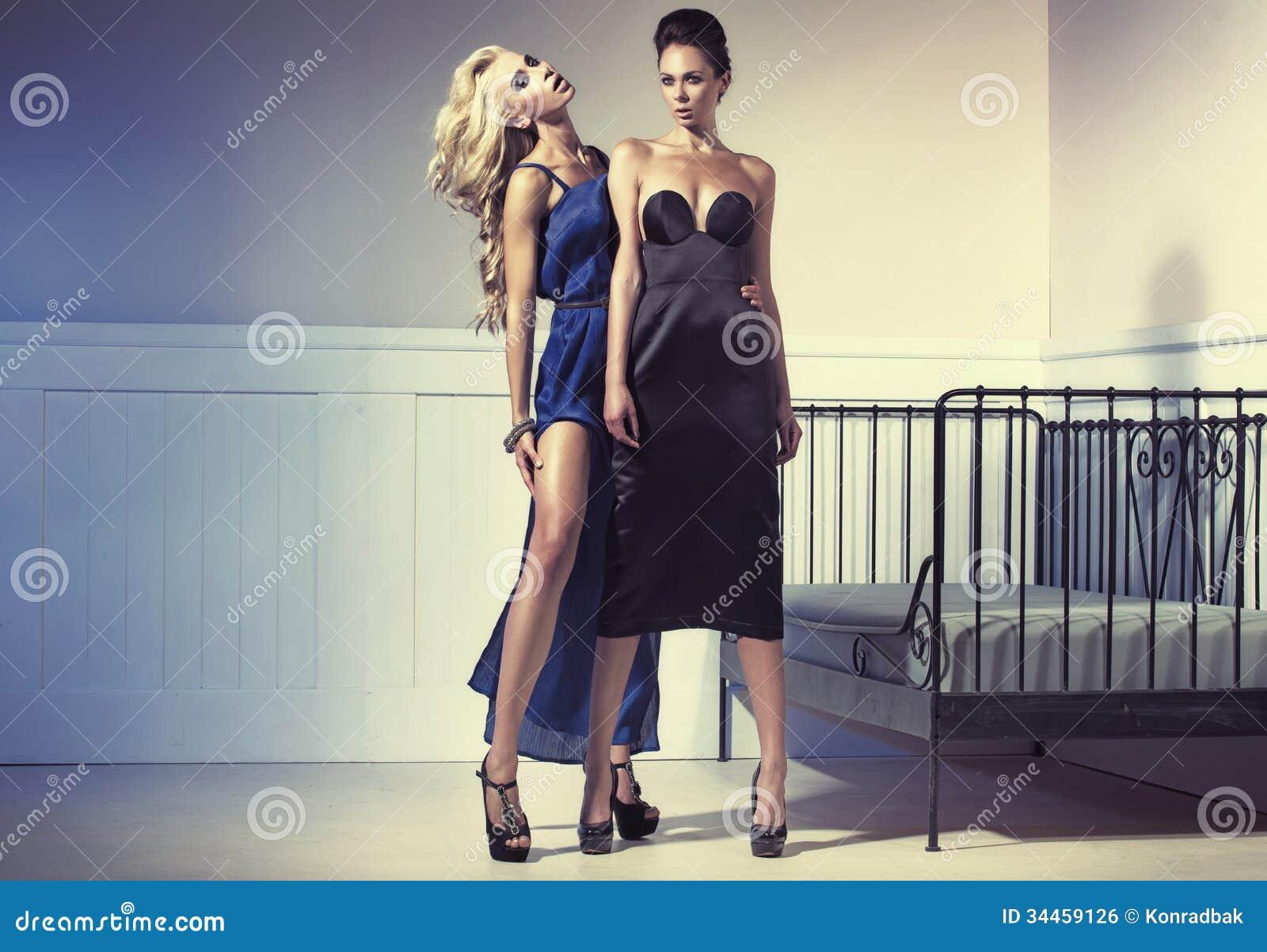 穿晚礼服的两名惊人的妇女