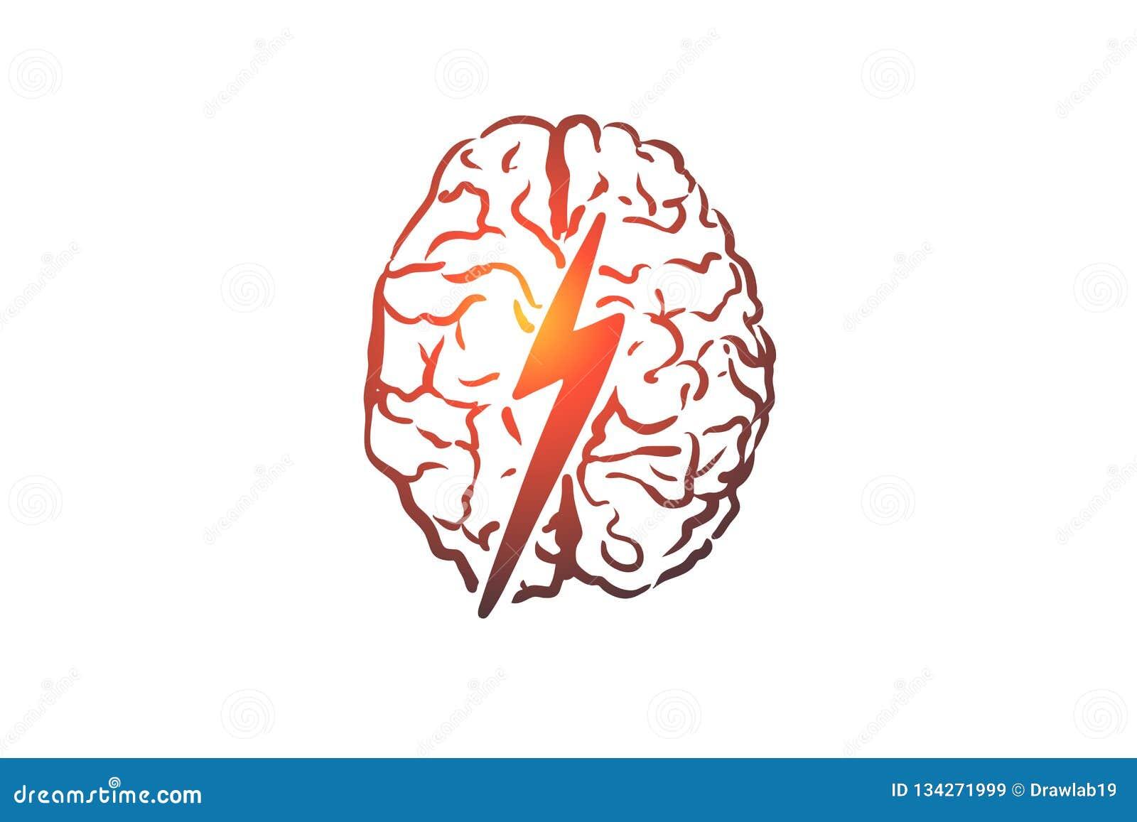 突发的灵感,创造性,脑子,头脑,力量概念 手拉的被隔绝的传染媒介