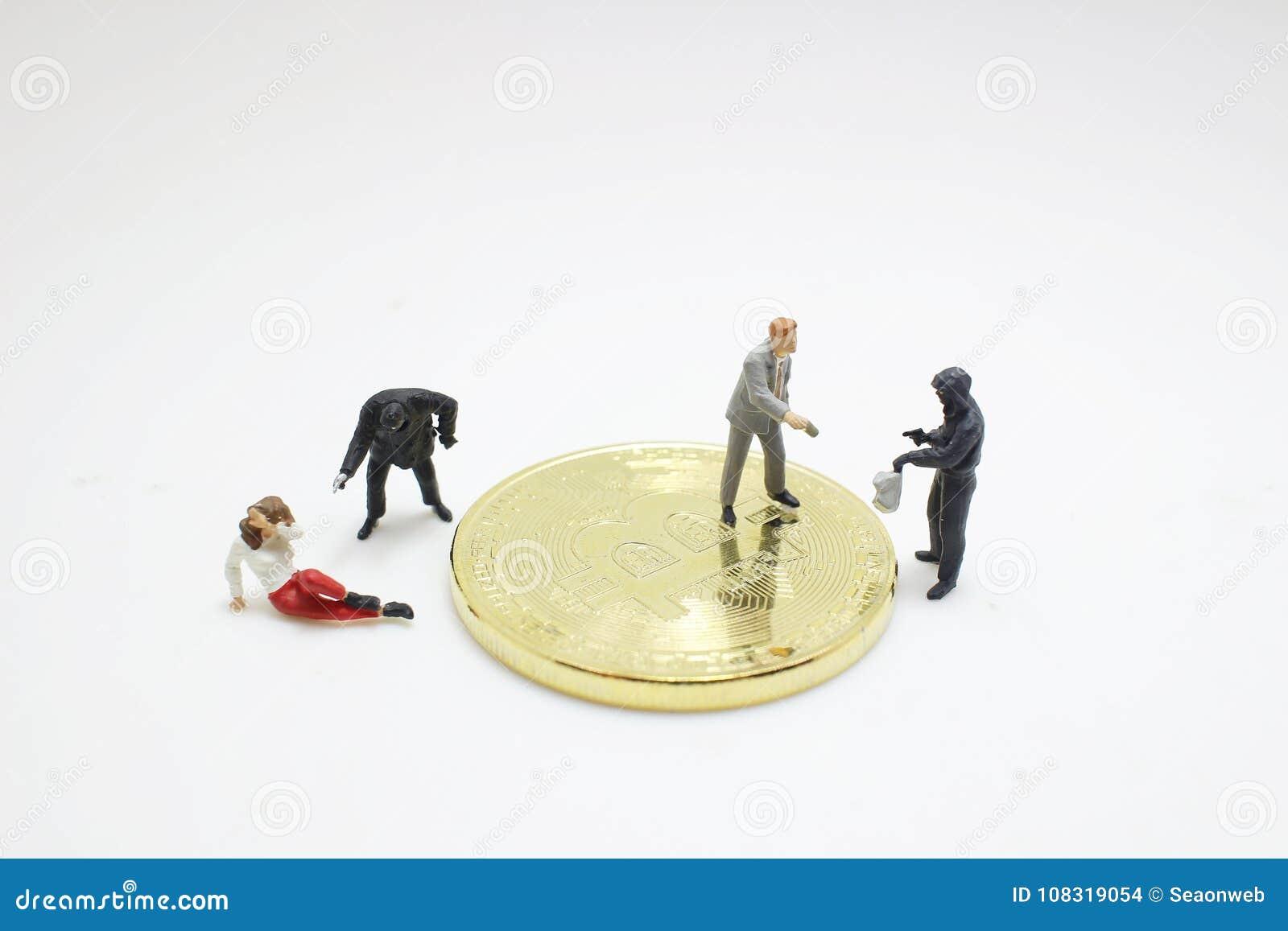 窃取bitcoins的窃贼黑客形象