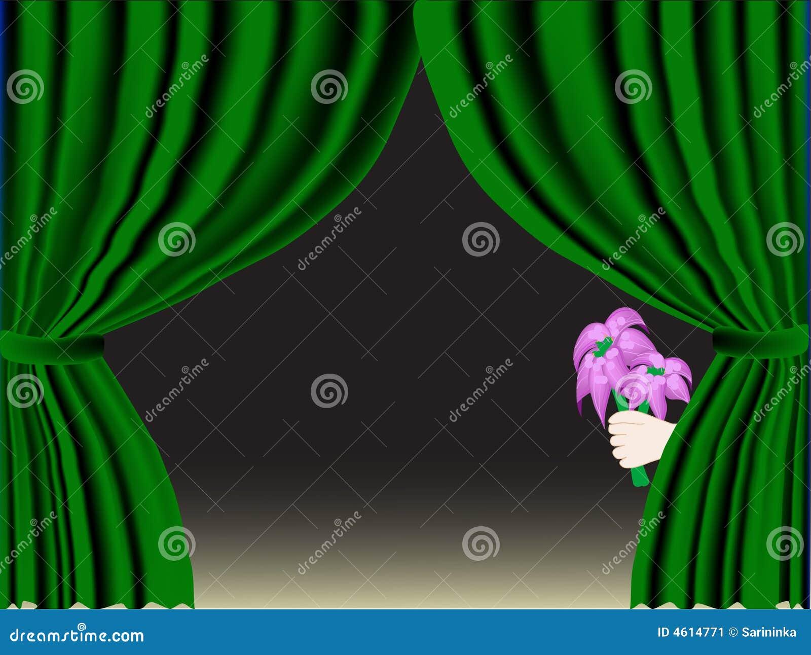 窗帘开花绿色