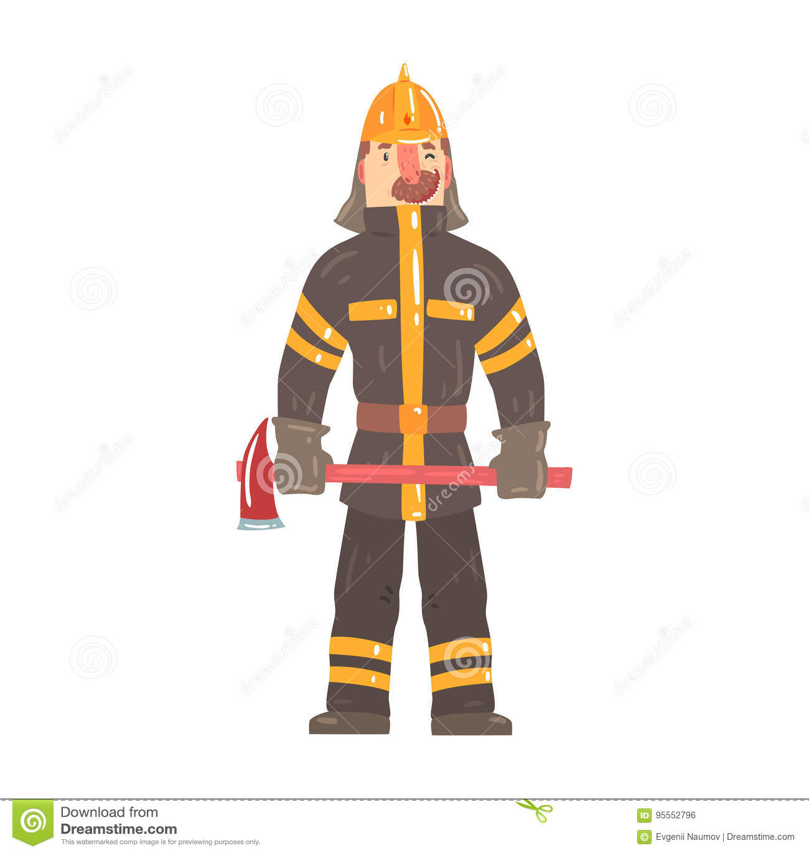 站立与轴漫画人物传染媒介IllustrationИР½ Ñ 'ÐΜрР½ ÐΜÑ 'а的安全帽和防护套服的消防队员