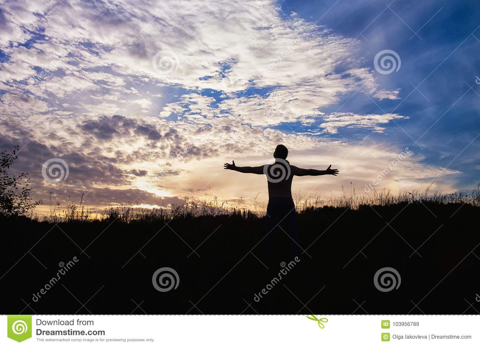 站立在与胳膊的领域的一个人的剪影被伸出遇见太阳