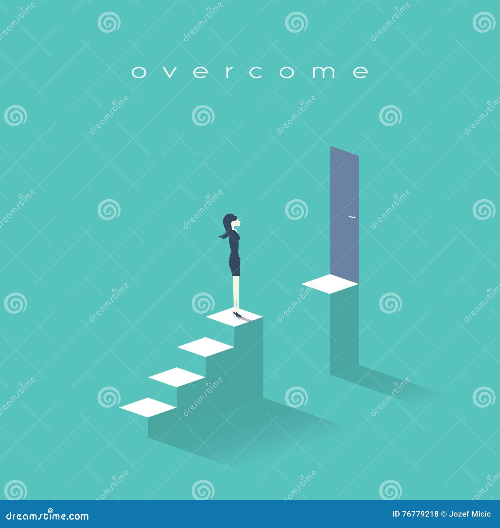 站立在台阶顶部的女商人 标志女实业家挑战、障碍和障碍在事业,公司
