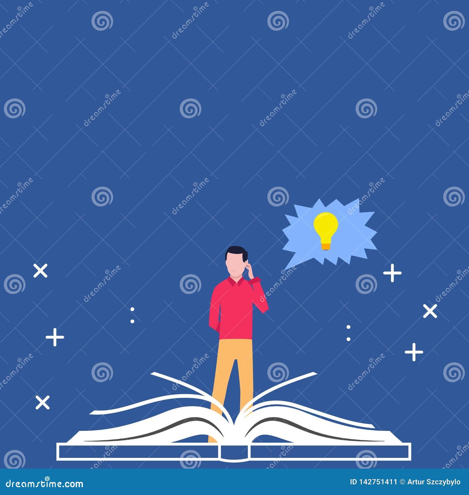 站立在大开放书和手后的人在他的头 与电灯泡里面想法象的接合的讲话泡影 创造性