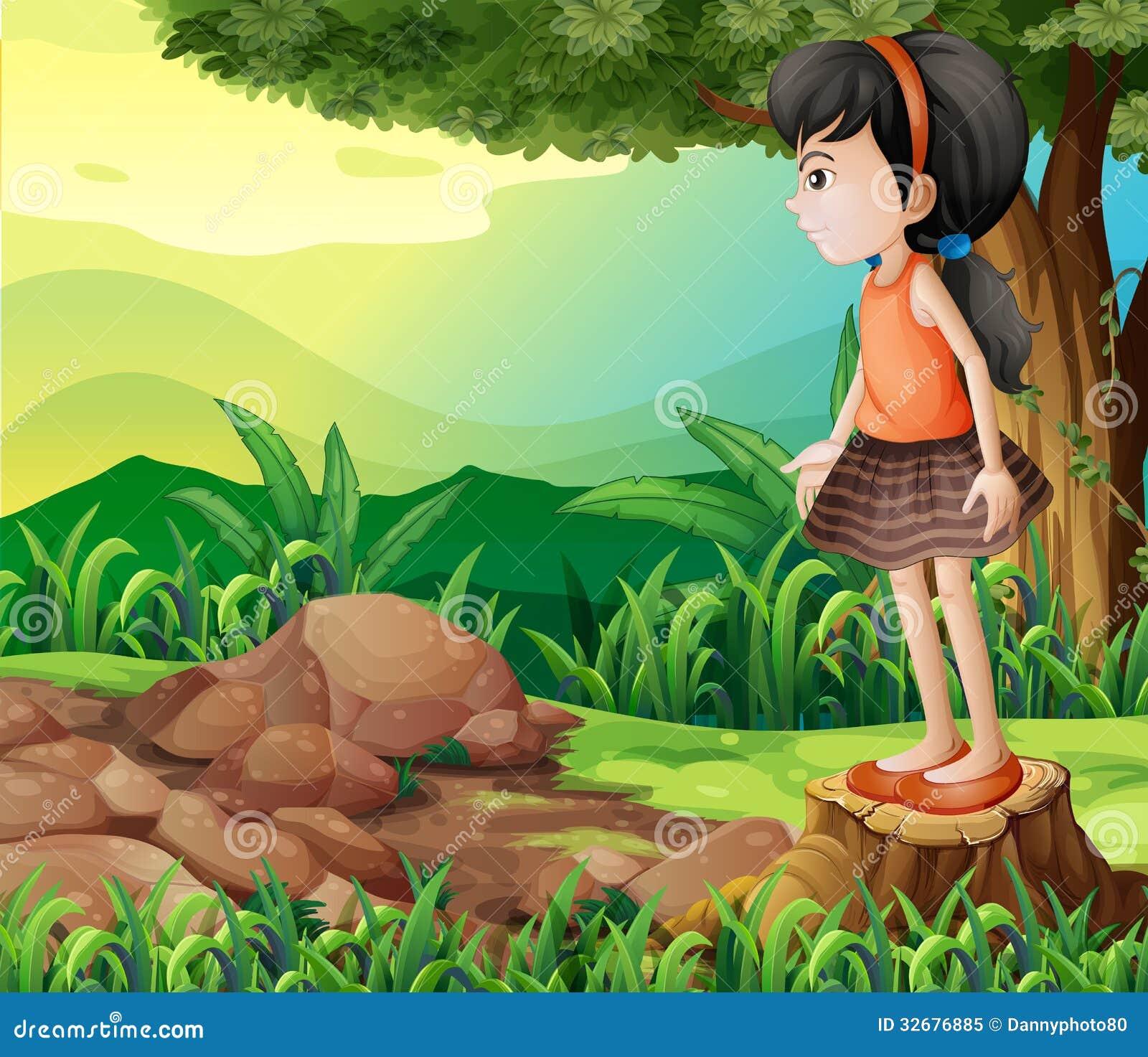 站立在树桩上的一个小女孩的例证.图片