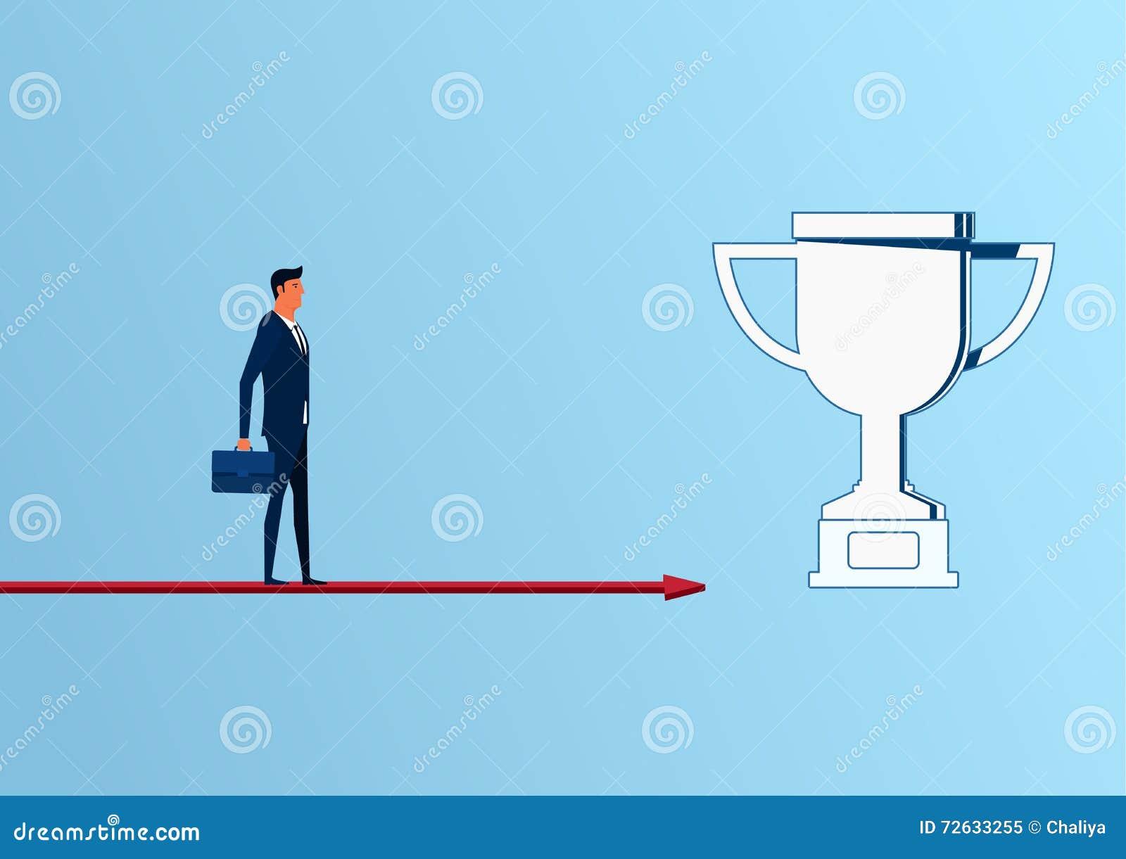 站立在箭头图表方法的商人对战利品和成功,机会,未来企业趋向