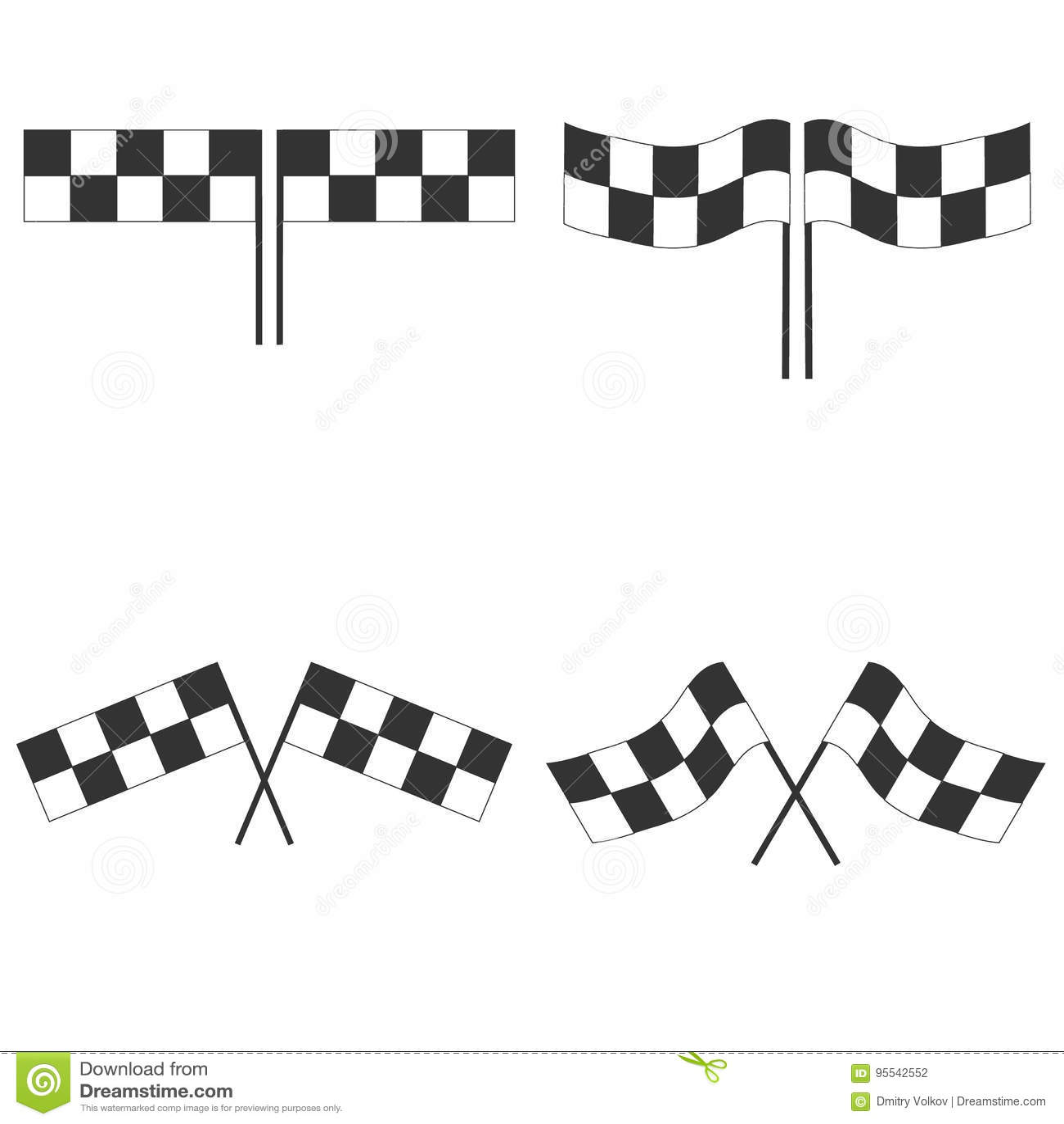 竞争种族的体育旗子 黑白方格的赛车旗子