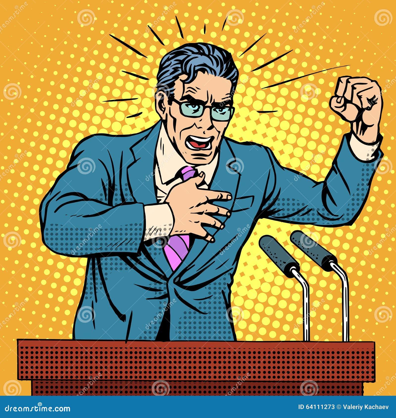 竞选活动指挥台的政策候选人