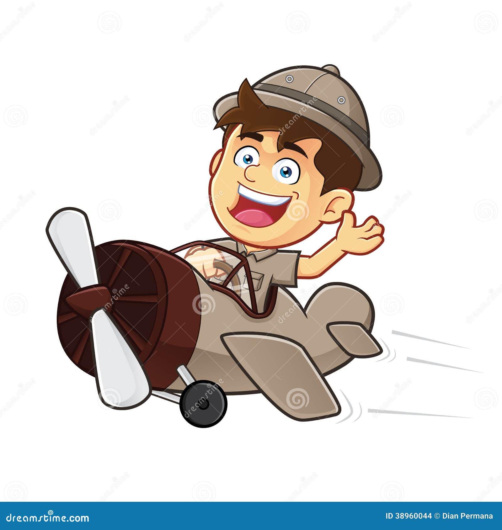 导航童子军或探险家男孩漫画人物骑马飞机的clipart图片.图片