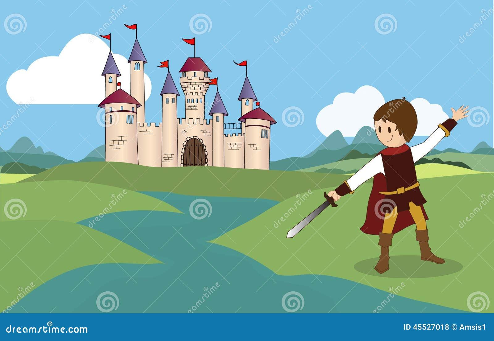 骑士和城堡-彩色插图.图片