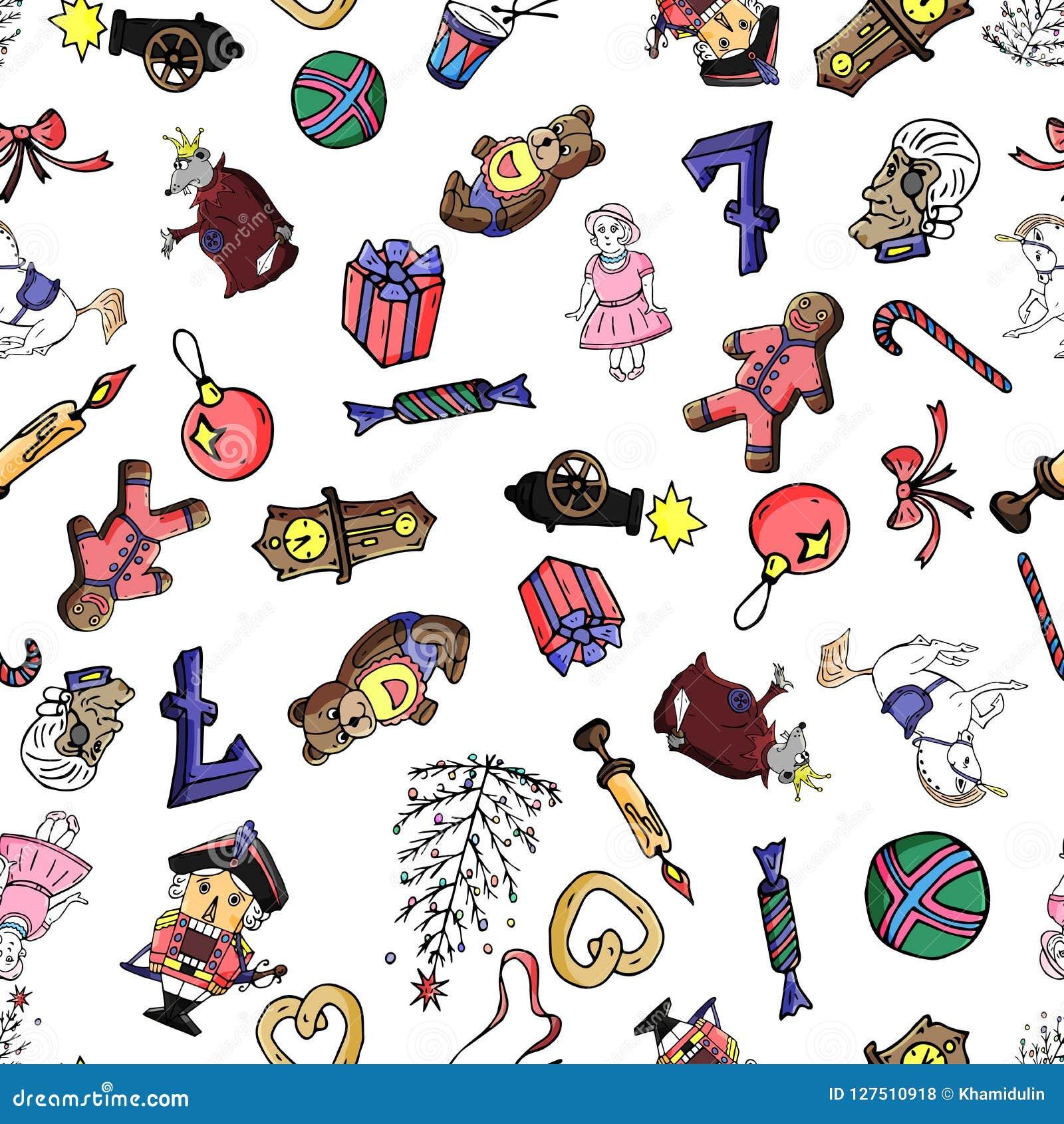 童话胡桃钳的集合无缝的样式动画片圣诞节字符 能为网页背景,积土使用