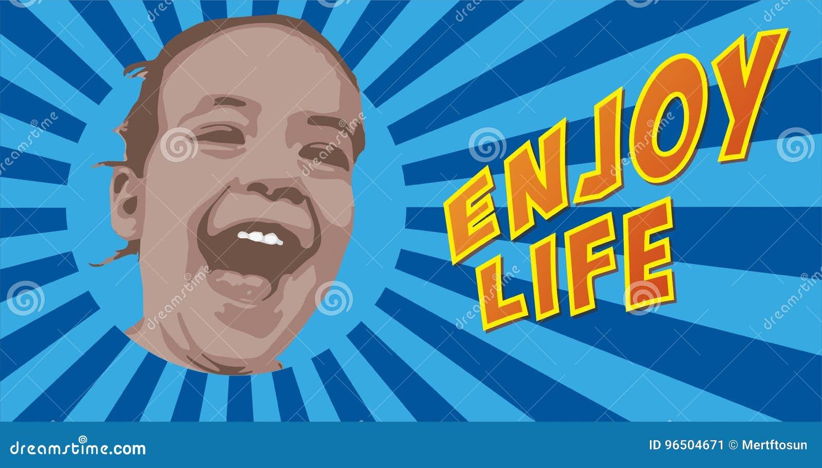 笑在蓝色starburst背景的愉快的小女孩与享受生活文本