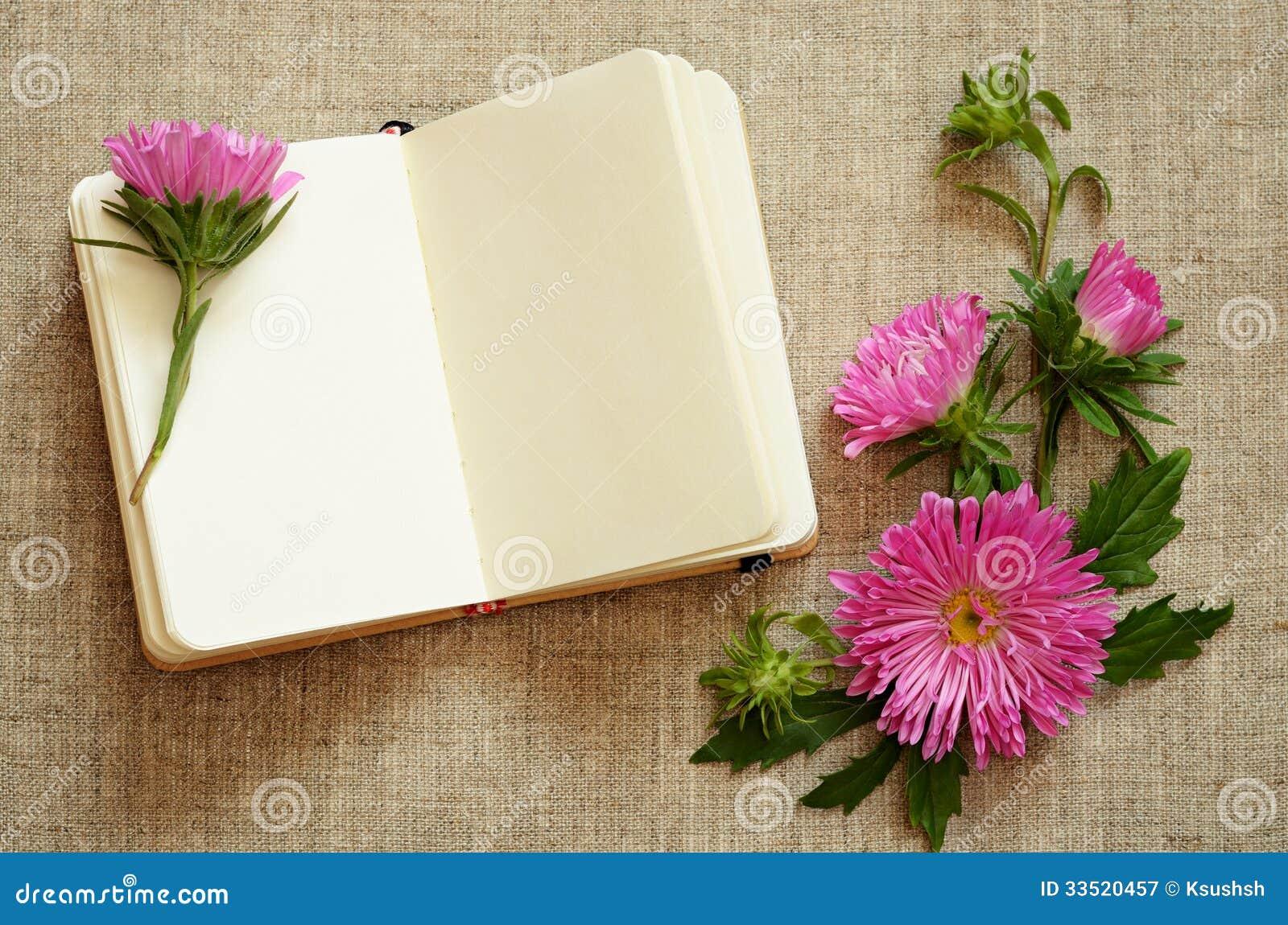 笔记本和翠菊构成在角落