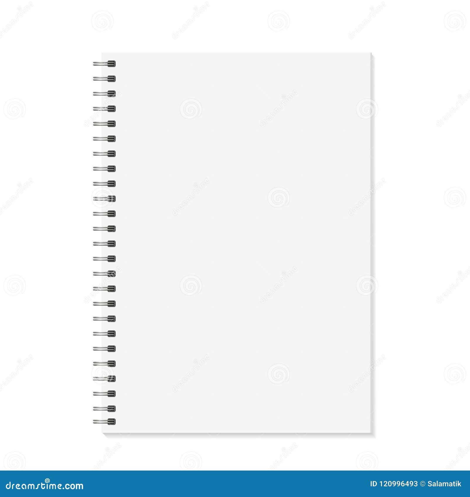 笔记本嘲笑 打开与金属螺旋模板的书 背景查出的白色 A4一定的页 向量