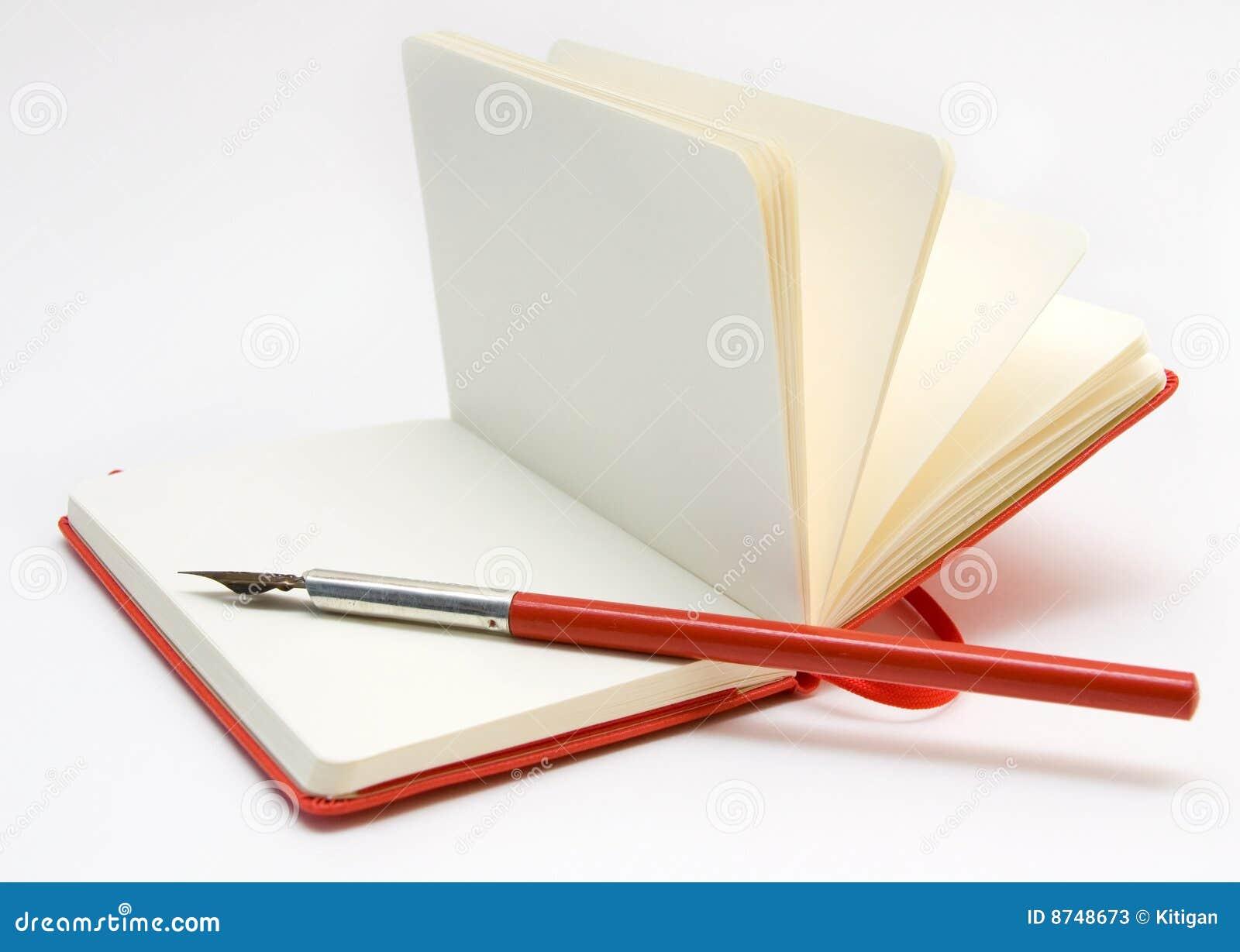 笔记本开放笔红色